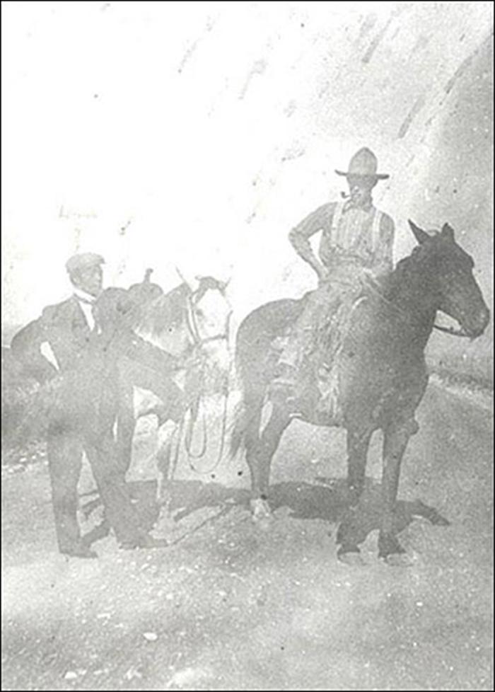 Great, great grandfather John Vernon Kemp (on horse), outside Buffalo, Montana, late 1800's