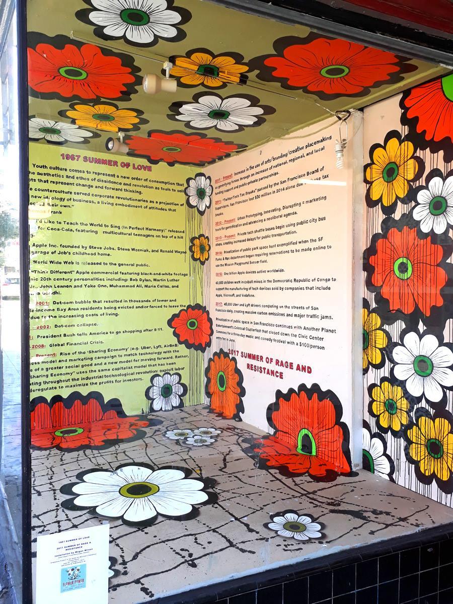 Megan Wilson,  1967 Summer of Love -> 2017 Summer of Rage & Resistance,  ATA window installation, part of Wilson's  Flower Interruption  project at the Asian Art Museum, 2017