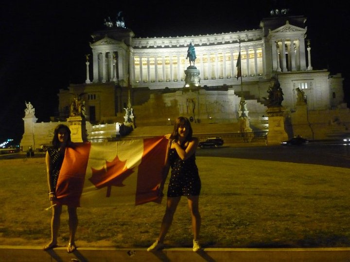 The author displaying one of her flags in her other country.