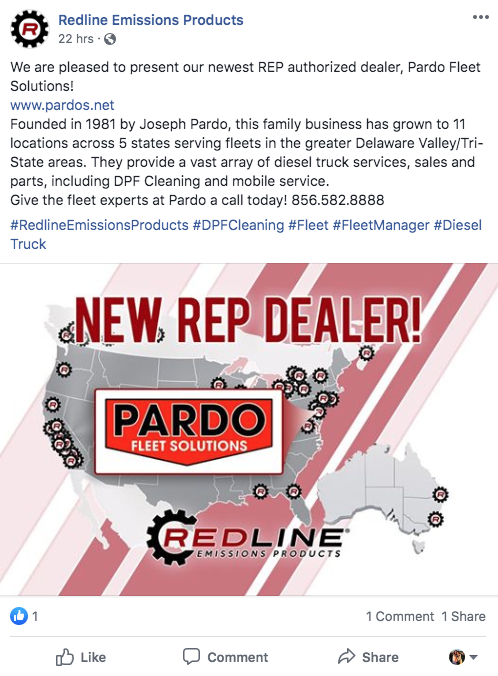 Redline Emission Products Facebook post presenting Pardo Fleet Solutions as an authorized dealer