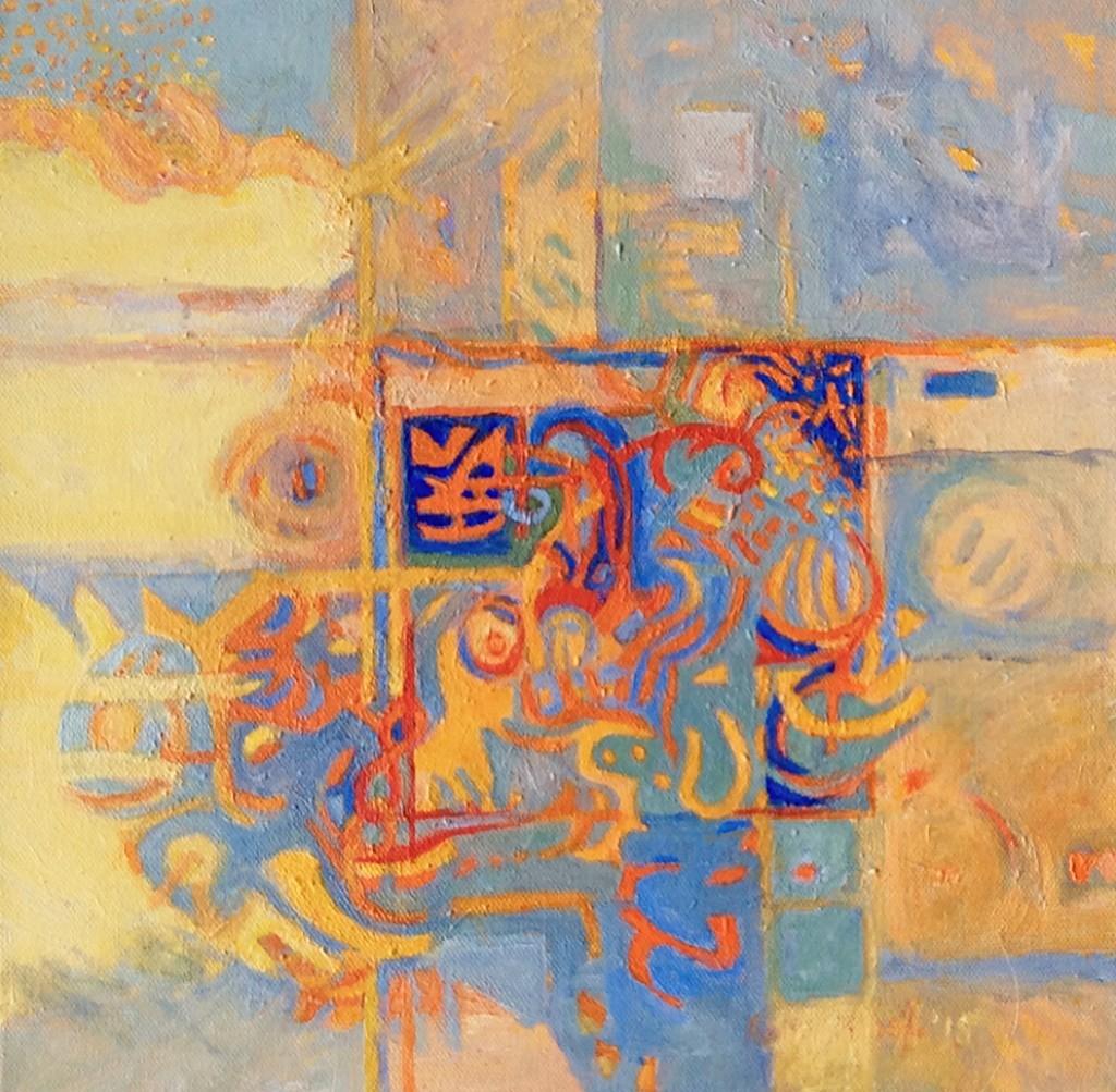 "WEAVING ... acrylic on canvas  12""x12"""