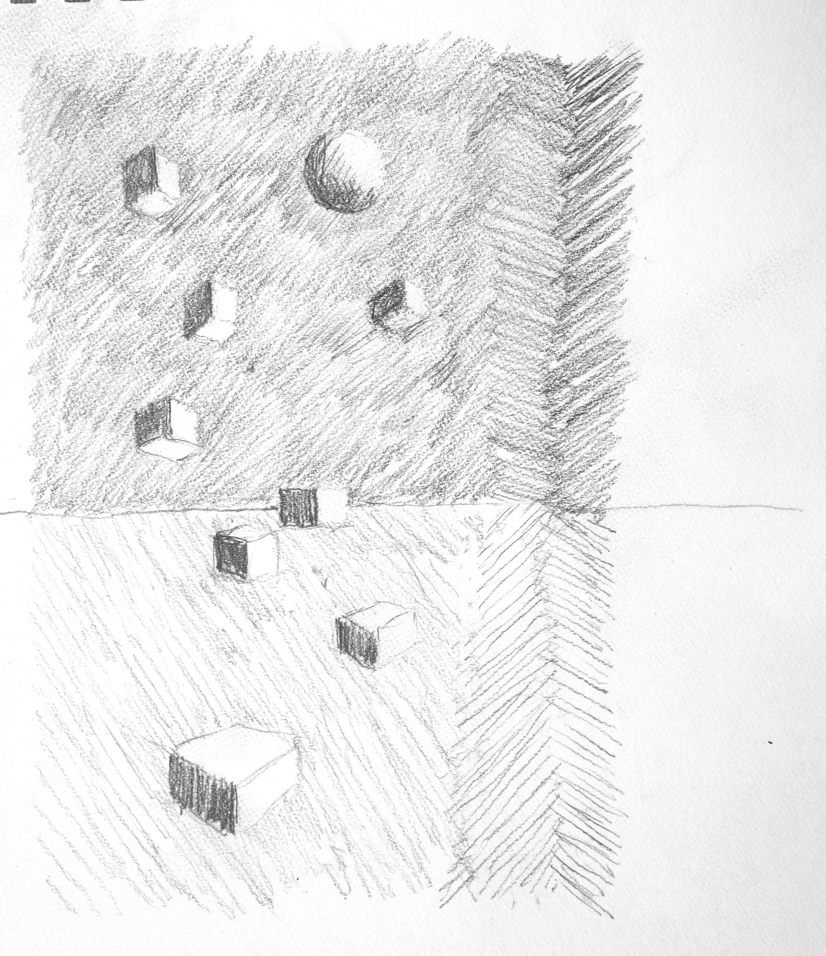 """LOOKING UP ... pencil on paper  7""""x6"""""""