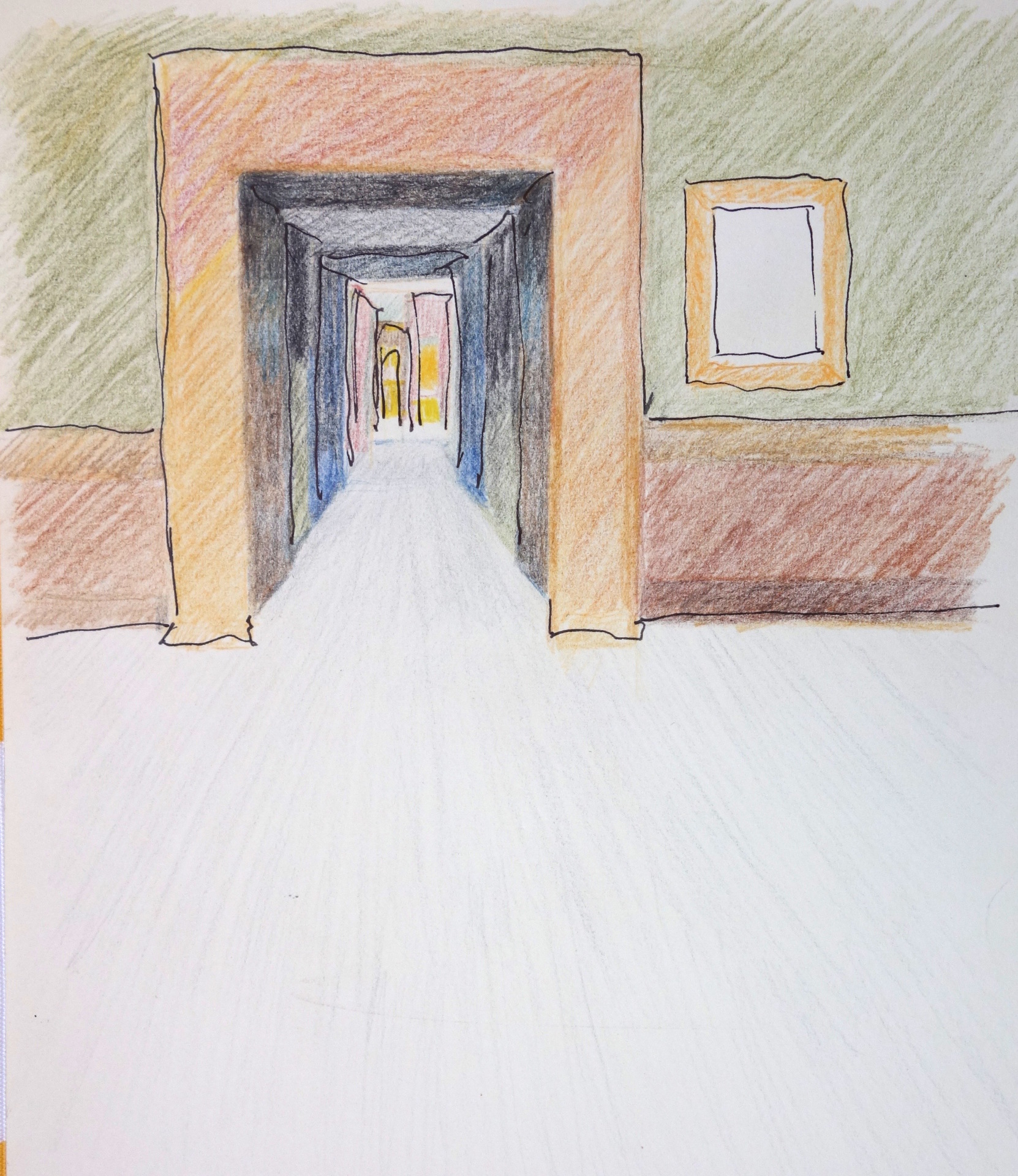 """INTERIOR ... colored pencil & ink on paper 9.5""""x7"""""""