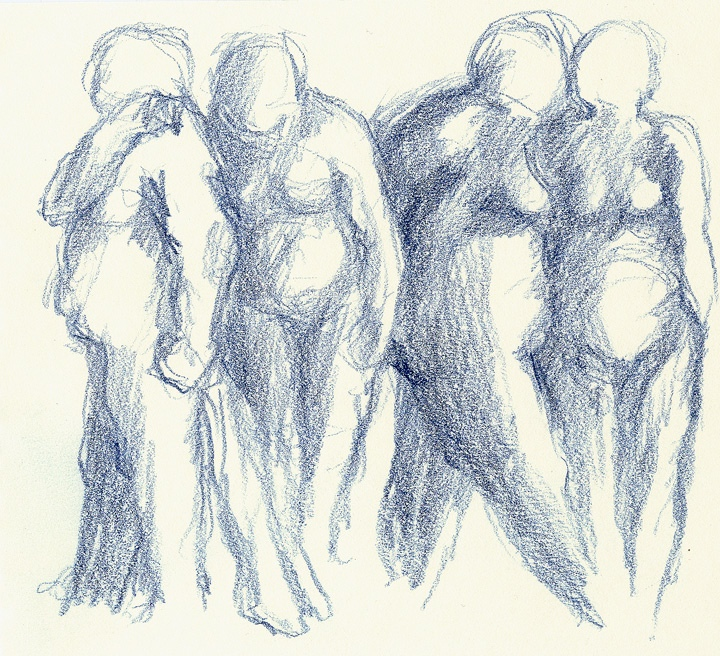 """BLUE FIGURES ... colored pencil  12""""x14"""" framed"""
