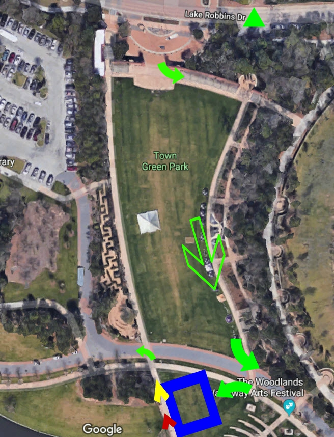 Bike to Run, Green Triangle is dismount line. Blue box is changing tent. small left arrow is run start. Yellow is women's exit, red is men's exit.