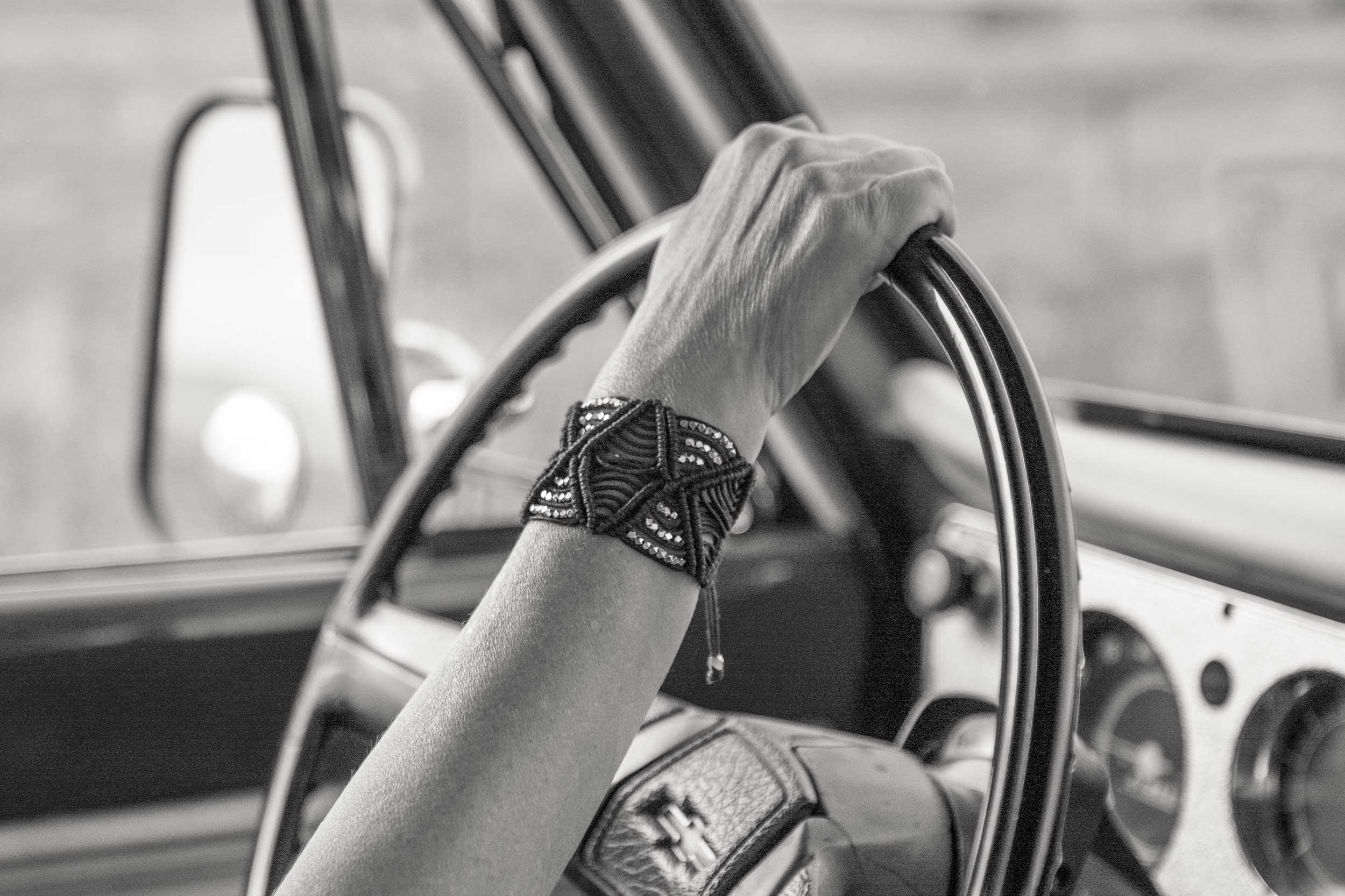 Sheryl Ott wearing a macrame cuff made by Kelli Ronci of Corda Design.