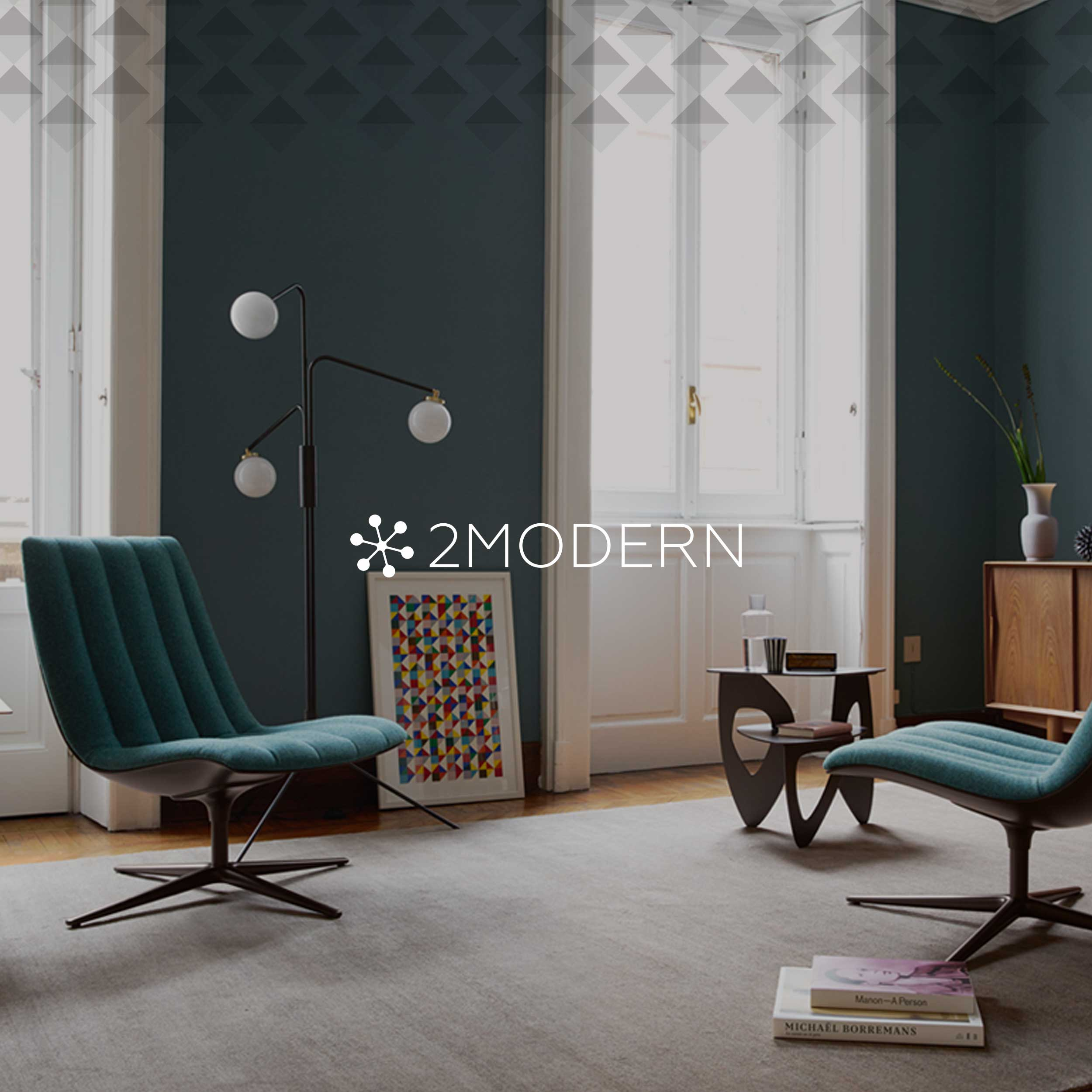 Modern stylish living room for 2Modern branding identity.