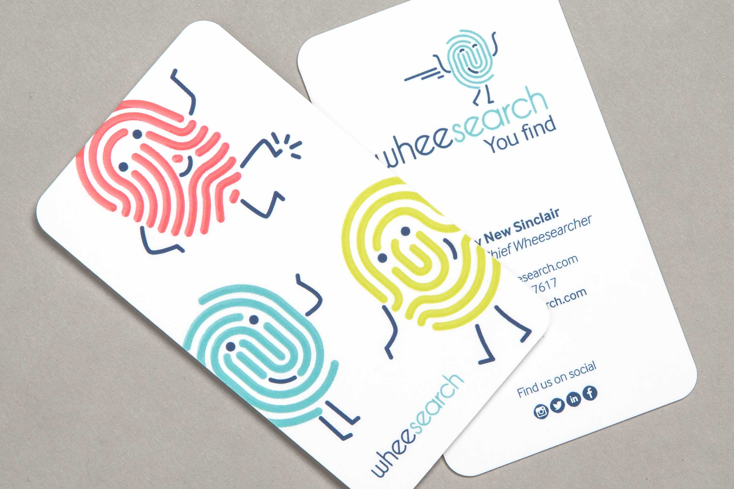 Finger print business cards with spot varnish for the Wheesearch brand.