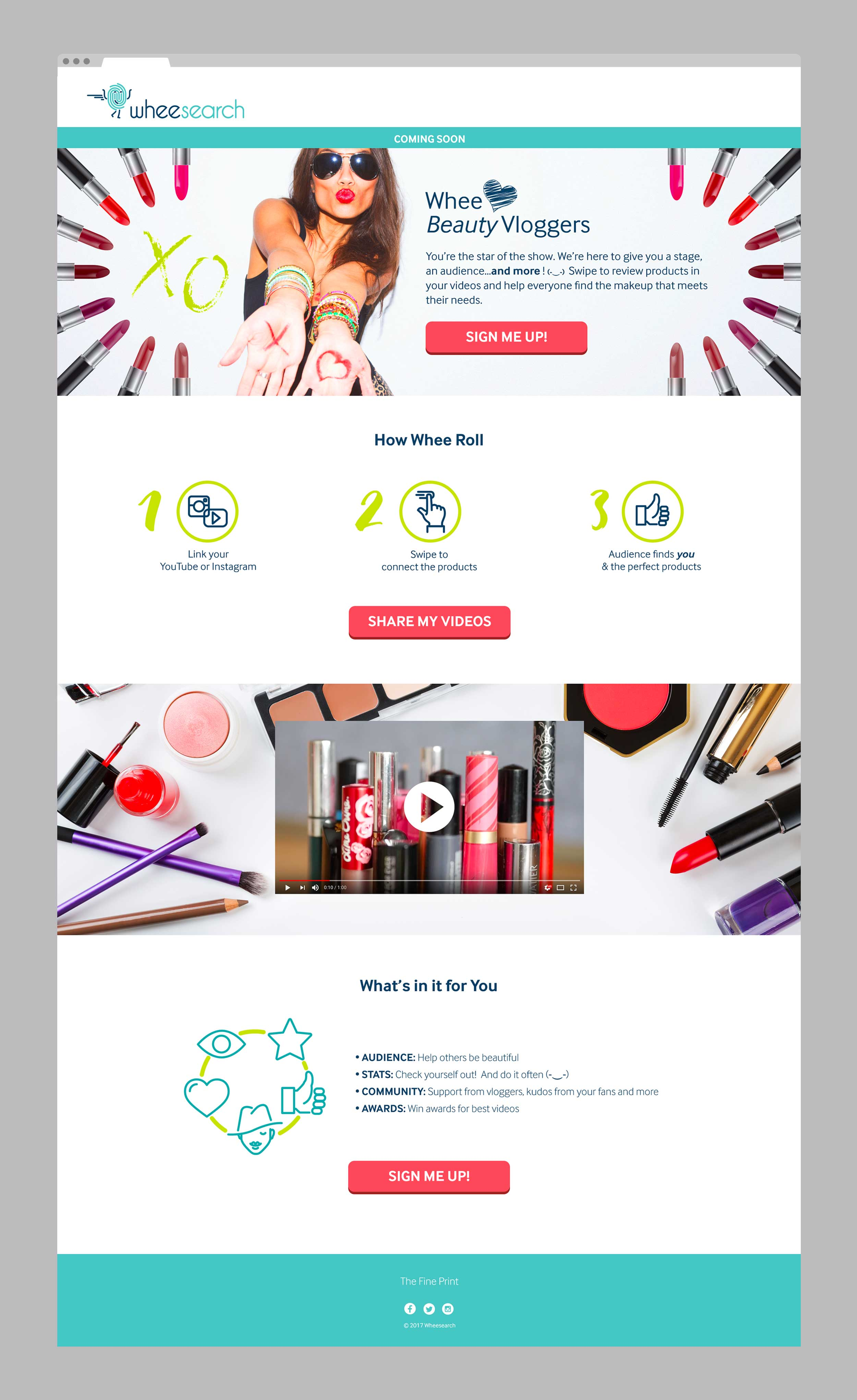 Web design landing page for the beauty vlogger audience.