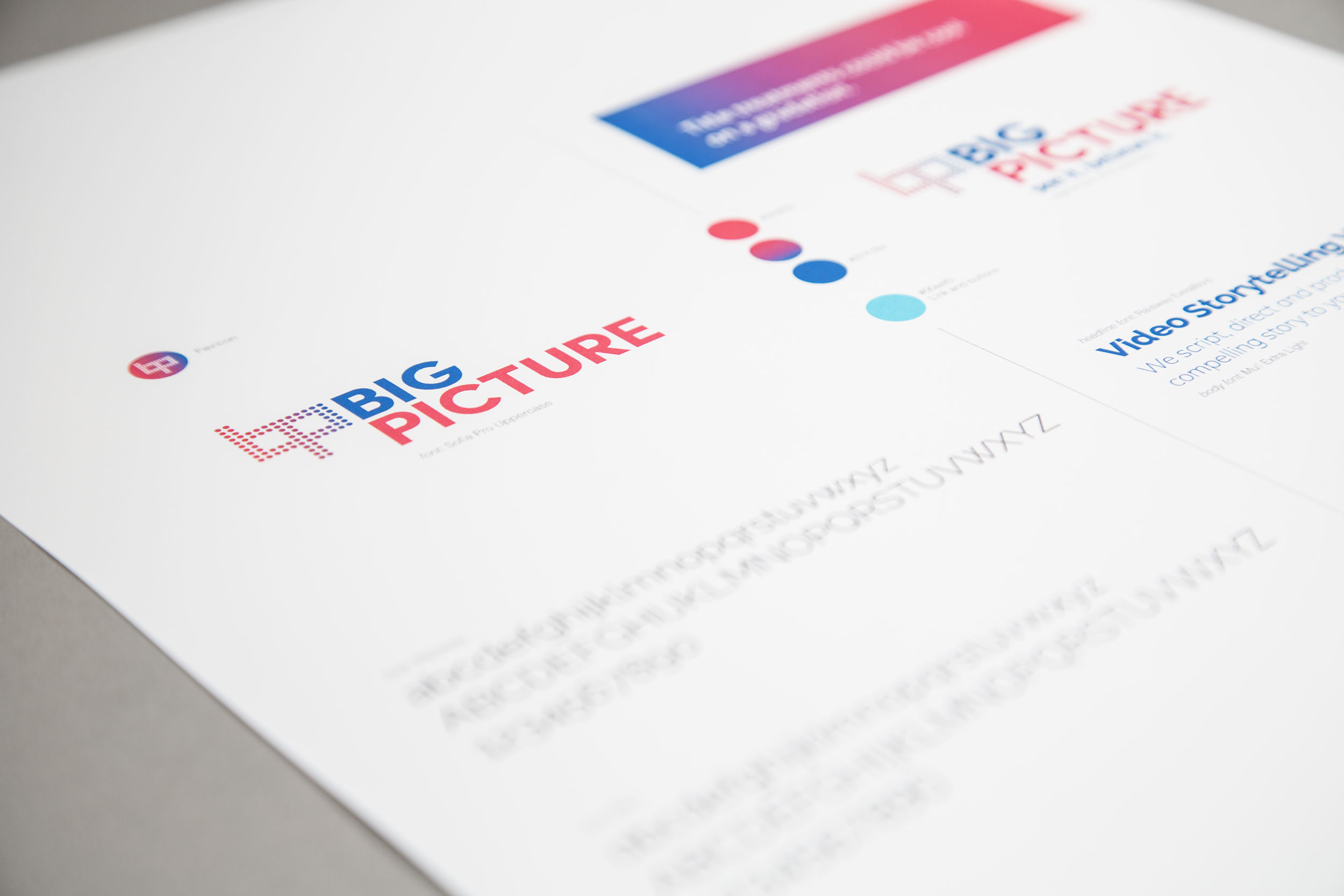 A style guide for Big Picture showing colors, typography and logo.