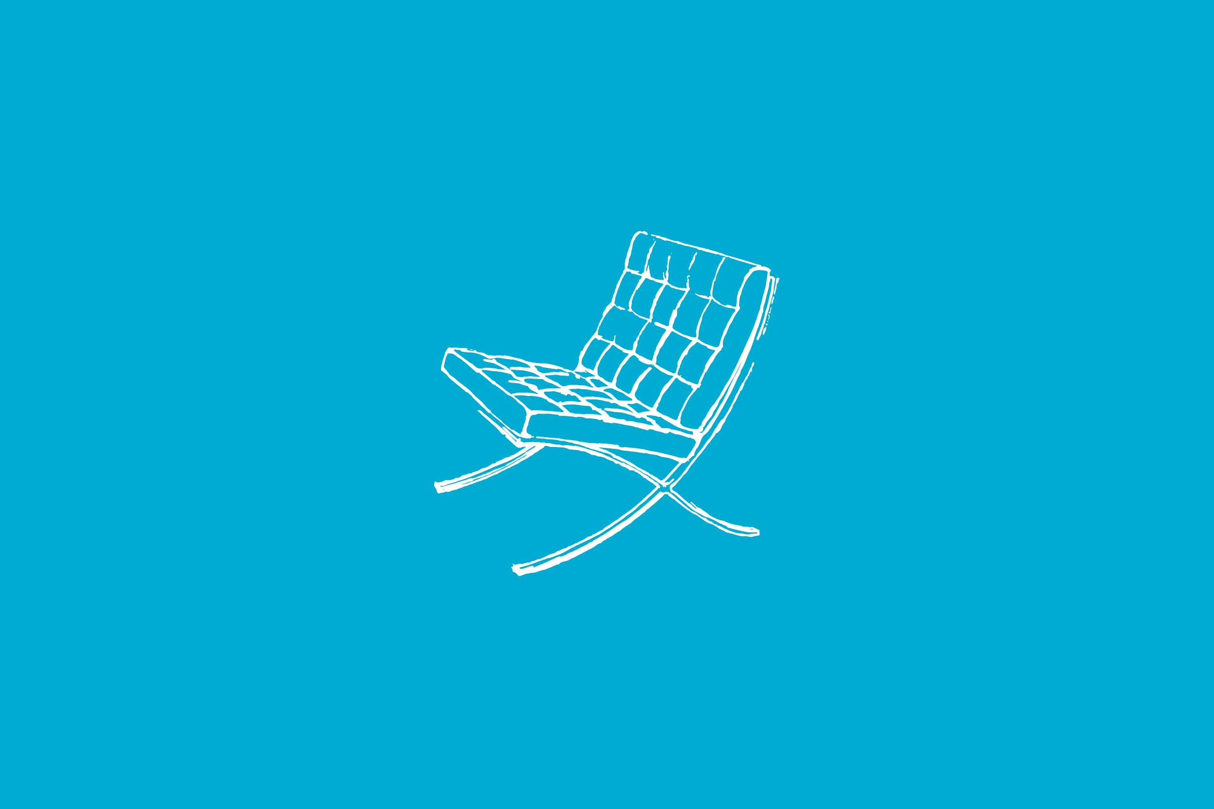 A Barcelona chair illustration created by MoJo Design that is a graphic element throughout the brand.