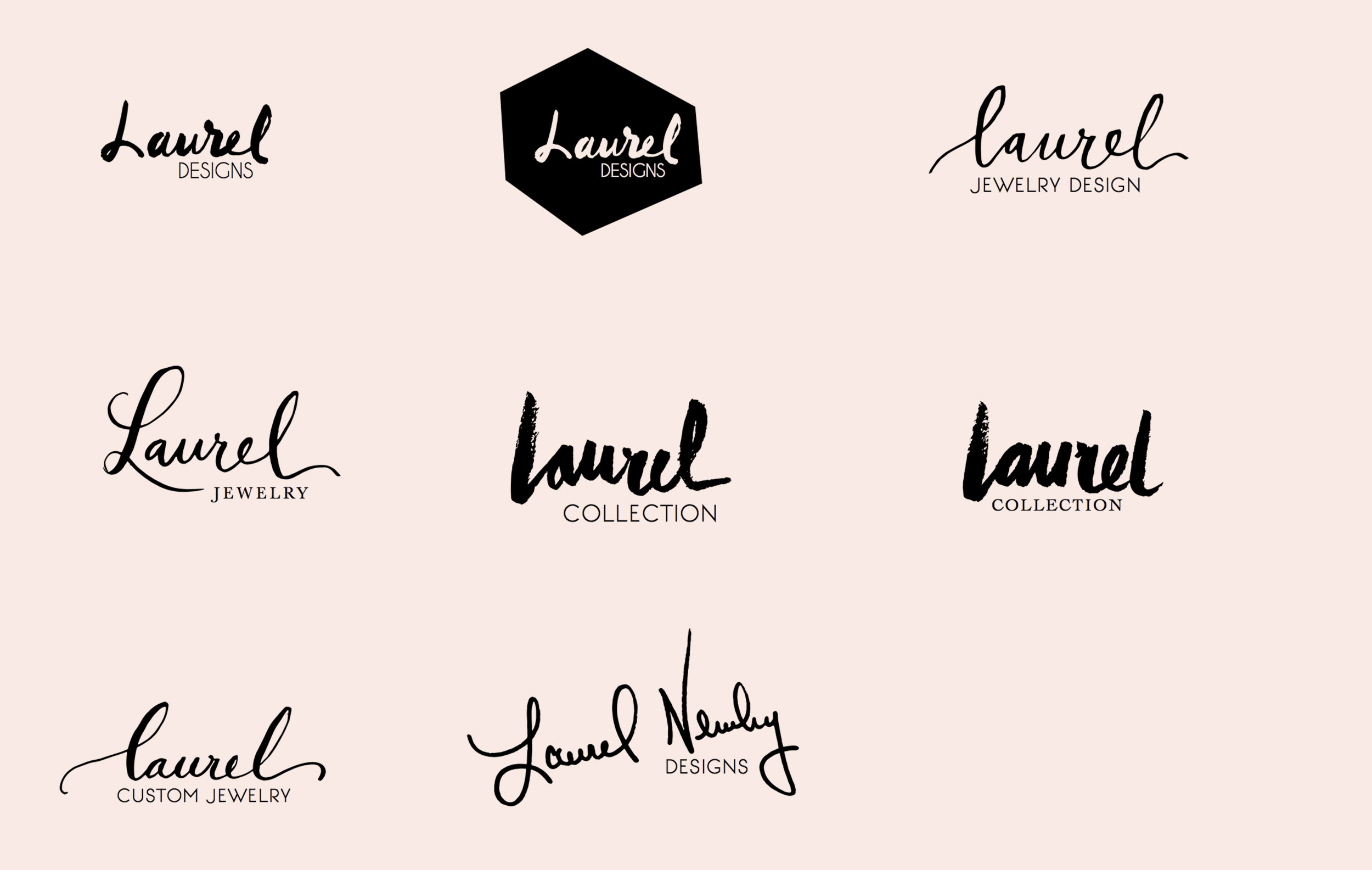 Laurel Jewelry Design handwritten logo variations.