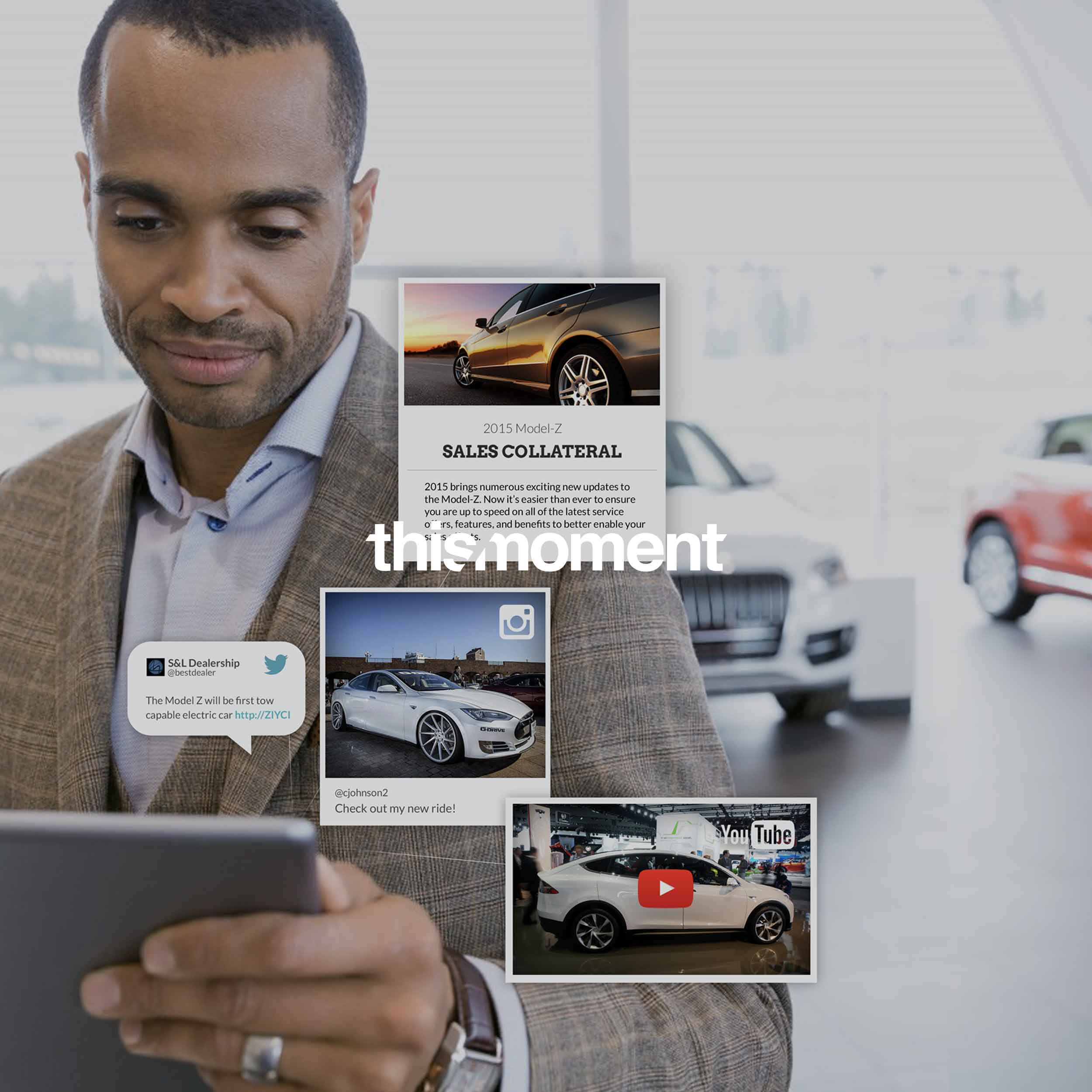 A car salesman using the Thismoment platform to create a playlist for his customers.
