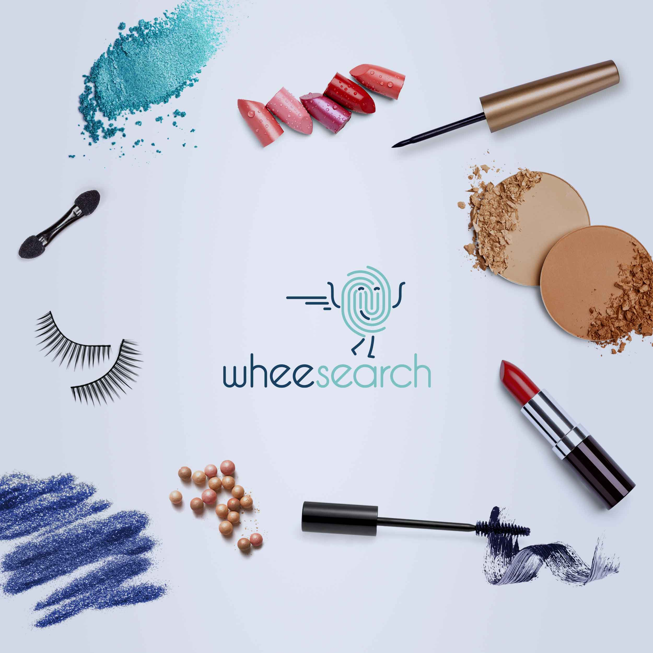Lipstick, eyeshadow, mascara on a vanity created for the Wheesearch brand, a high-tech company in Silicon Valley.