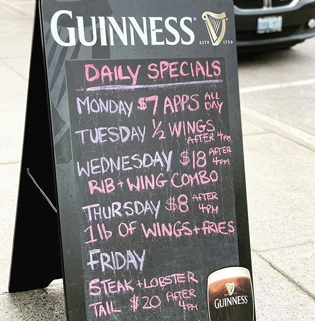 Does Nookie's have specials? Yes we do, Monday through Friday we have delicious food for amazing prices! 🤤 #porthopeontario #food #guinness #specials