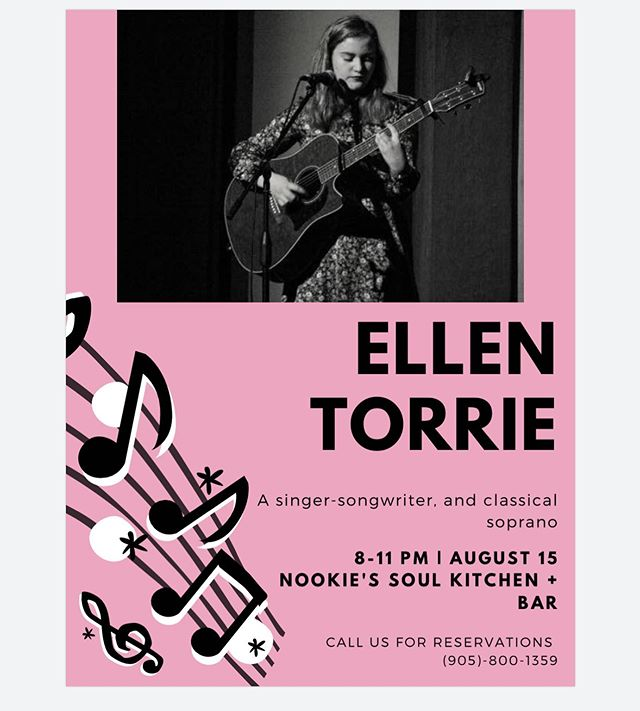 We have Ellen Torrie on August 15th! Call us for reservations! 🤙🏼
