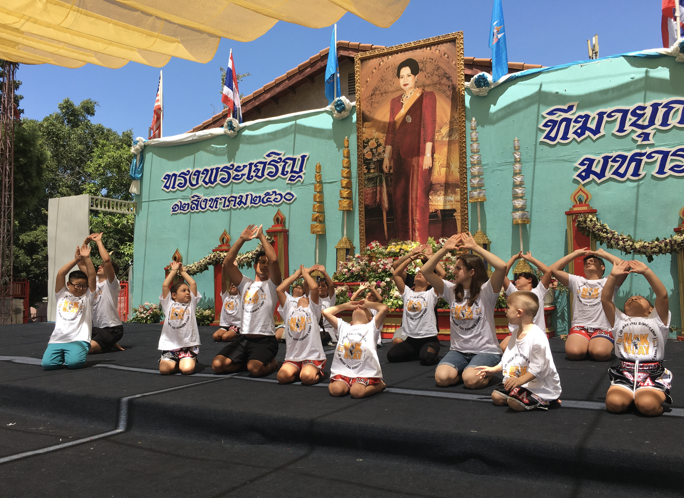 PERFORMING THE WAI KRU AT A THAI TEMPLE IN NORTH HOLLYWOOD