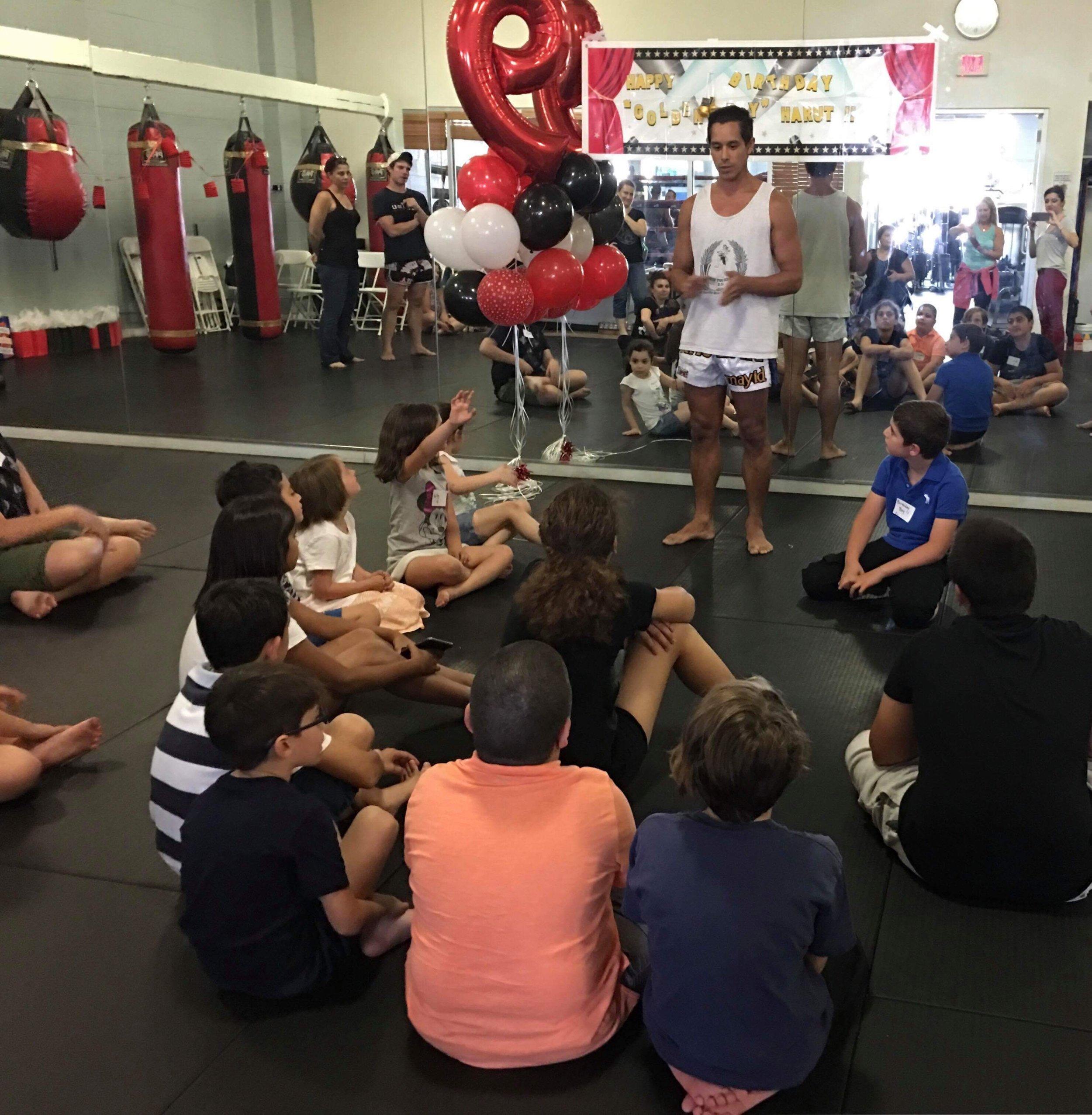 CELEBRATING A 9TH BIRTHDAY PARTY, MUAY THAI SCHOOL USA STYLE!