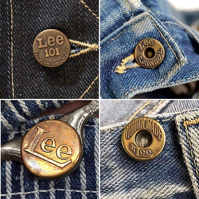 Repost from @lee101official denim branding old and new #denim #branding #buttons #leejeans #indigo