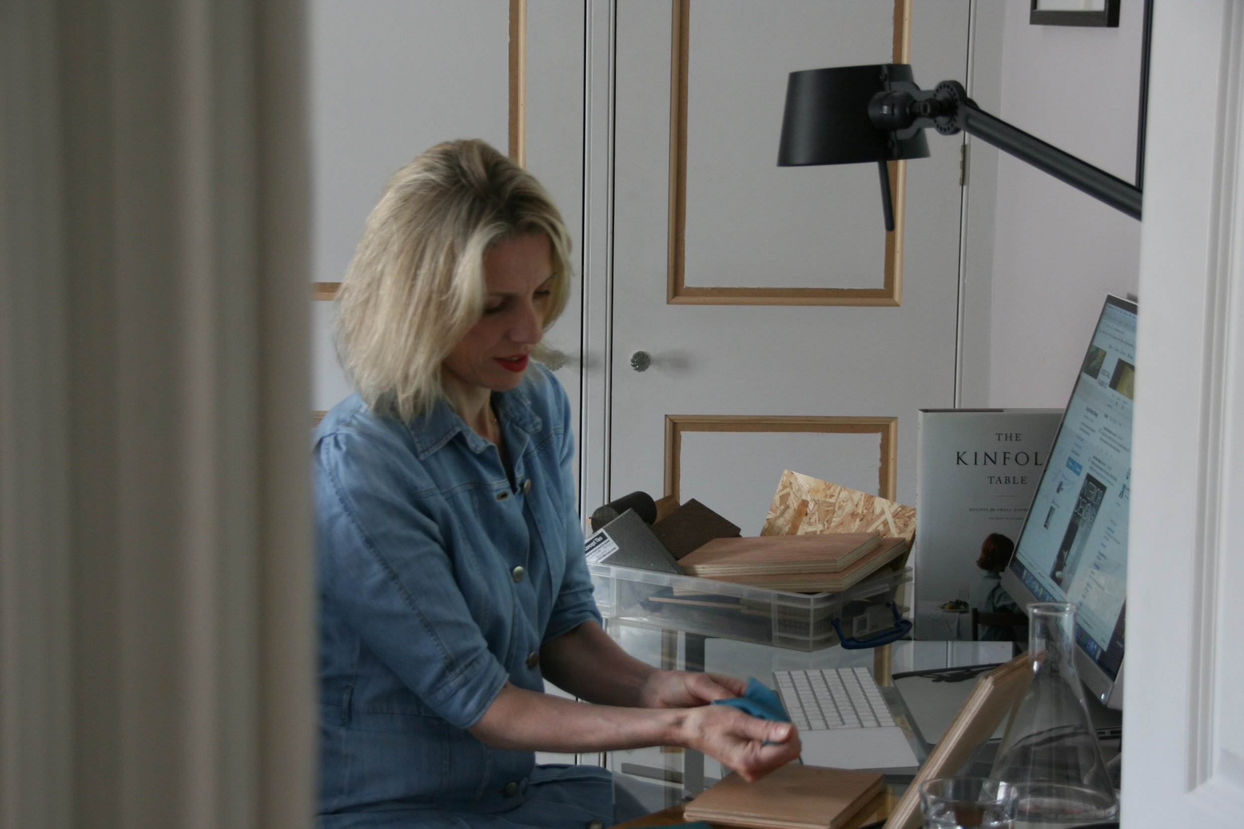 Natasha working on her restaurant design business.