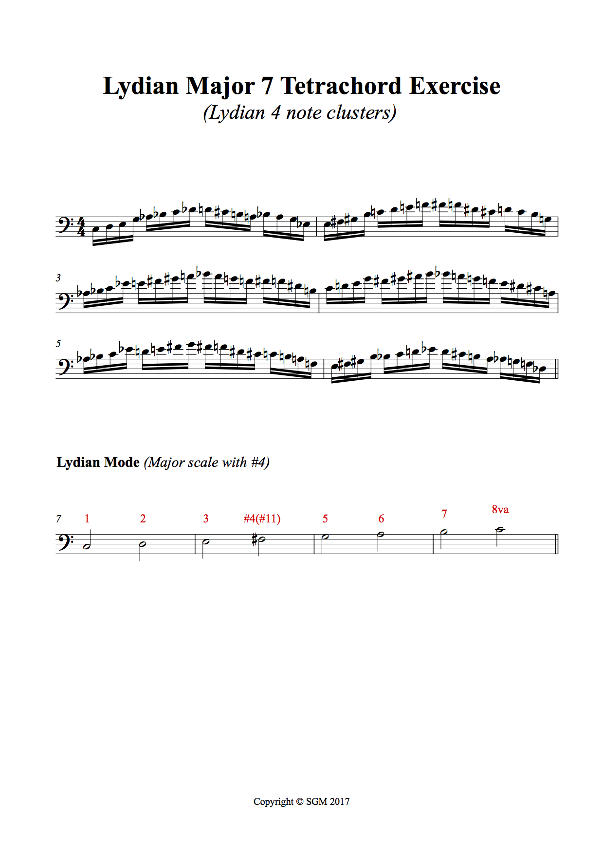 Lydian Exercise - Here is a very useful exercise for fingerboard knowledge using the Lydian Mode. Here the mode is split into two 4 note clusters called 'Tetrachords'. The pattern repeats every Major 3rd interval as you move chromatically up the neck. Play this exercise in all keys ascending and descending.