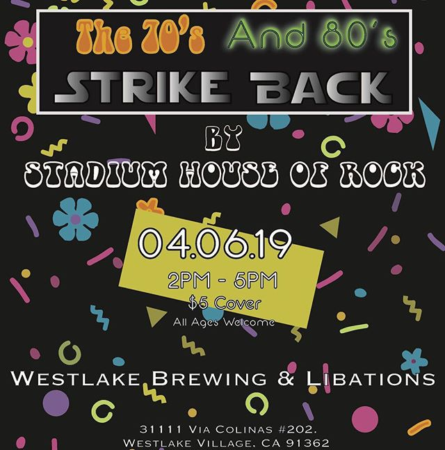 "Join us April 6th at @westlakebrewingco for our next show! ""The 70's and 80's Strike back"". The show will start at 2pm. Thank you to everyone who has helped make our shows so special!"