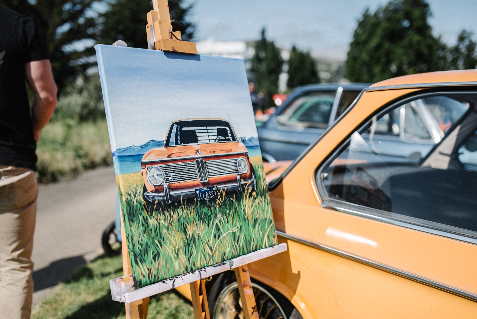 Max (@coastalcrush) brought out his 02s, Crusty and Vera. Justin Estes (@colorfreak_art) painted custom portraits of each car to display.