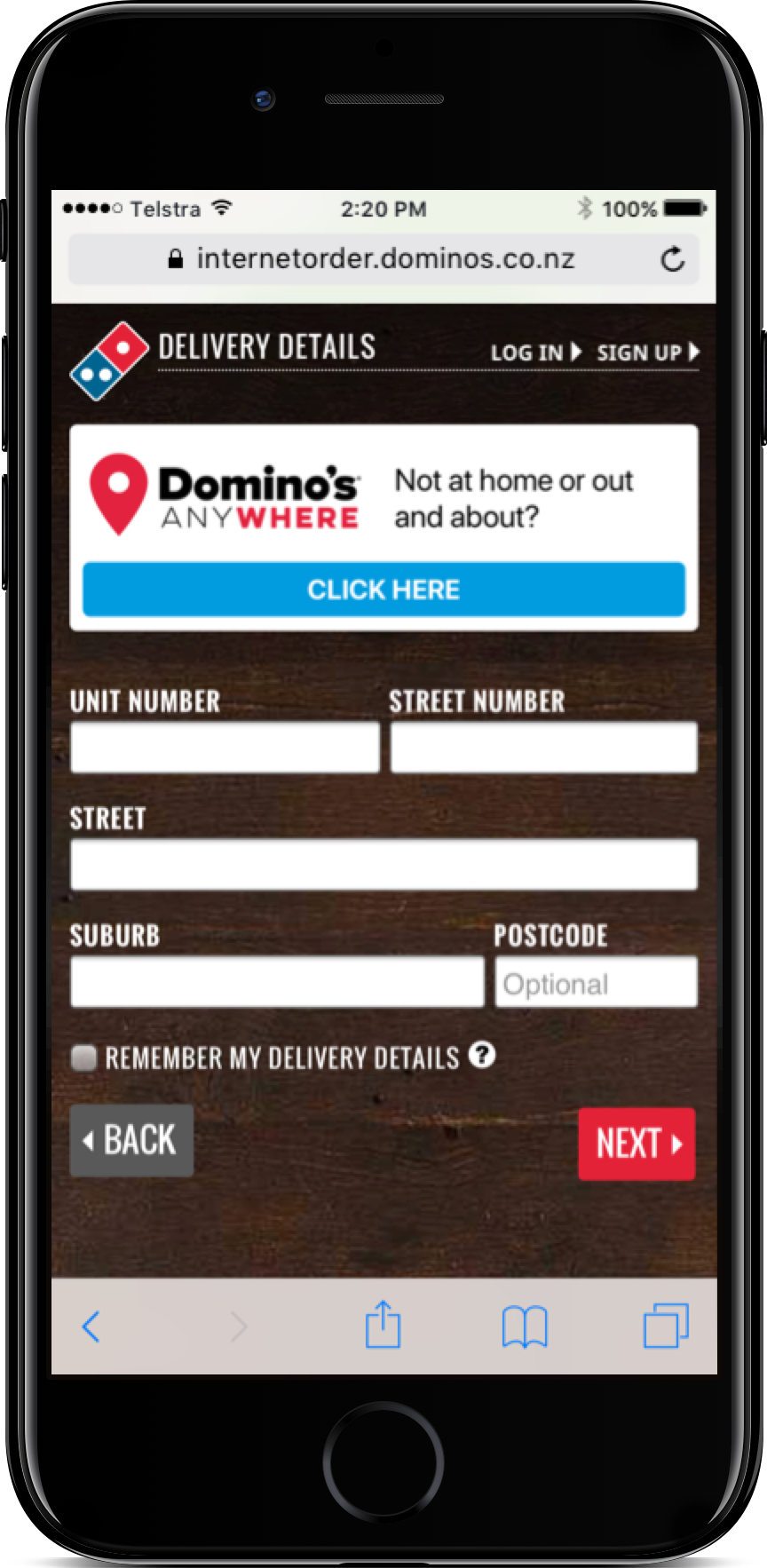 Select Domino's Anywhere on the Delivery Page -