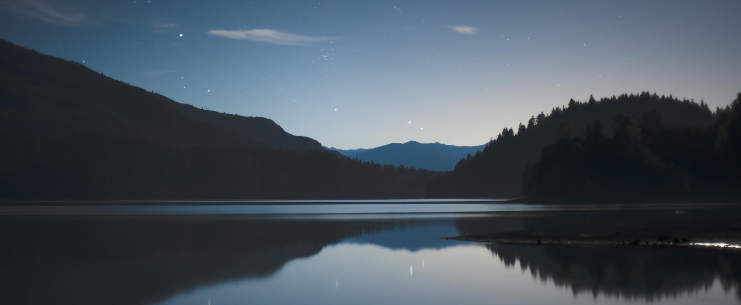Midnight during a full moon at Baker Lake, Washington, USA.
