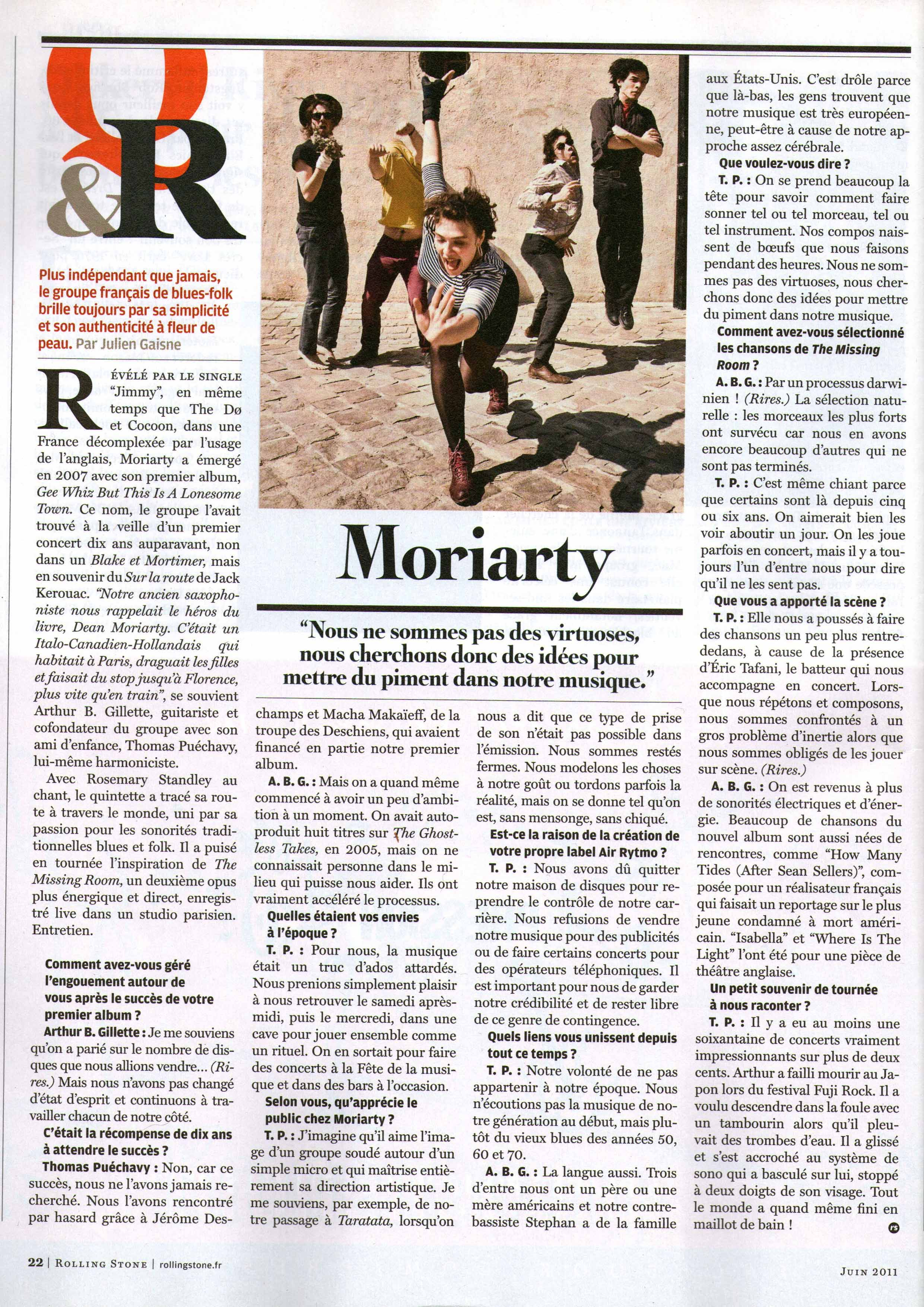 Moriarty (Rolling Stone France)