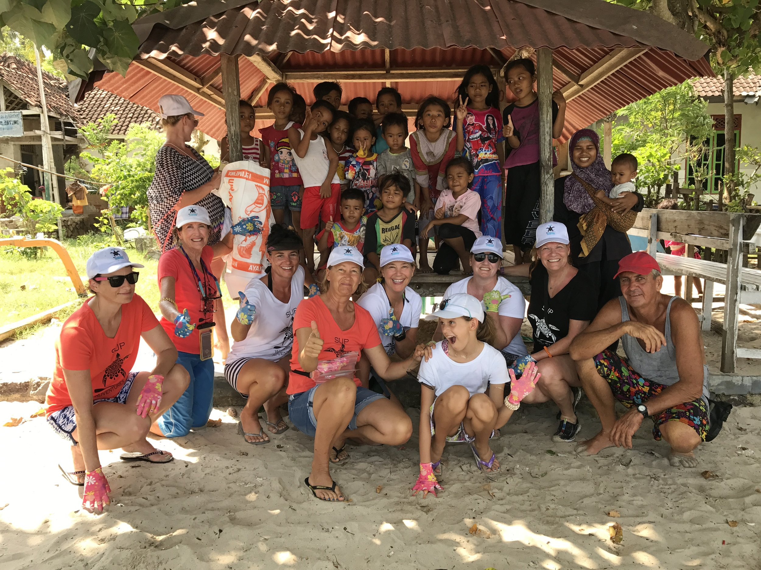 Pic: Volunteers after the beach clean undertaken Pic: Beach clean volunteers, Gili Asaham, Lombok