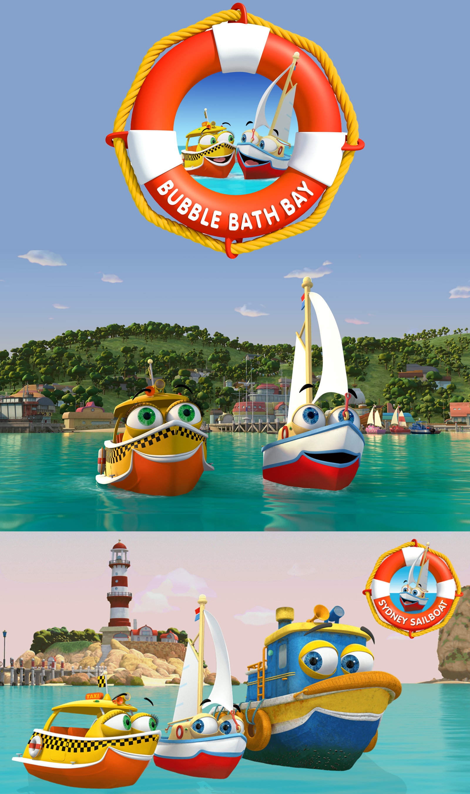 BUBBLE BATH BAY - Bubble Bath Bay is an animated pre-school series about the adventures of Sydney the Sailboat and his fleet of friends who live in Bubble Bath Bay.Fast-paced and full of fun and adventure, this animated series for pre-schoolers features best friends Sydney the Sailboat and Zip the trainee Water Taxi as they learn how to ride the waves of life alongside the other vessels of bustling Bubble Bath Bay.Year 2015Duration 52 x 11 minsProduction Partners Essential Media and Entertainment, Shambles Communications, Ideate Media, Telegael and Lemon SkyGenre CGI Animated Pre-School Series