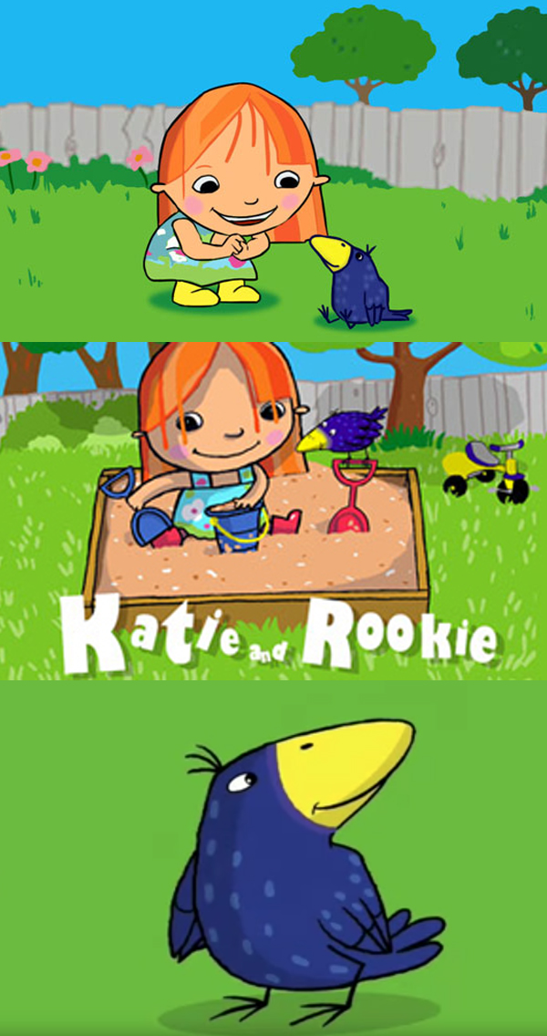 KATIE AND ROOKIE - Katie & Rookie ... at first look - an unlikely pairing. A five year old girl with a big bright smile and yellow wellies - best friends with a sweet, innocent and comical crow!But Katie & Rookie have really many things in common! Both share a love of the natural world, exploring all that lies waiting beneath a rock in the garden, a pile of colourful leaves or in a puddle after it rains. Both are full of wonder as they enter the big wide world, sometimes stumbling as they do, but always supporting each other nevertheless.At home, in the garden, at the playground or around the pond - Katie & Rookie's view of the world encourages children to open their eyes and see the wonders of nature lying in wait for them just outside their own door and learn that on the big beautiful planet where we live we are all part of the diverse, yet interconnected family. Above all, it's so much fun!Year In development 2010/2011Duration 52 x 11 minutes animation seriesExecutive Producer Paul CumminsProducers Siobhán Ní Ghadhra and Fred SchaeferPartners Copernicus CanadaGenre Preschool 4-6 years