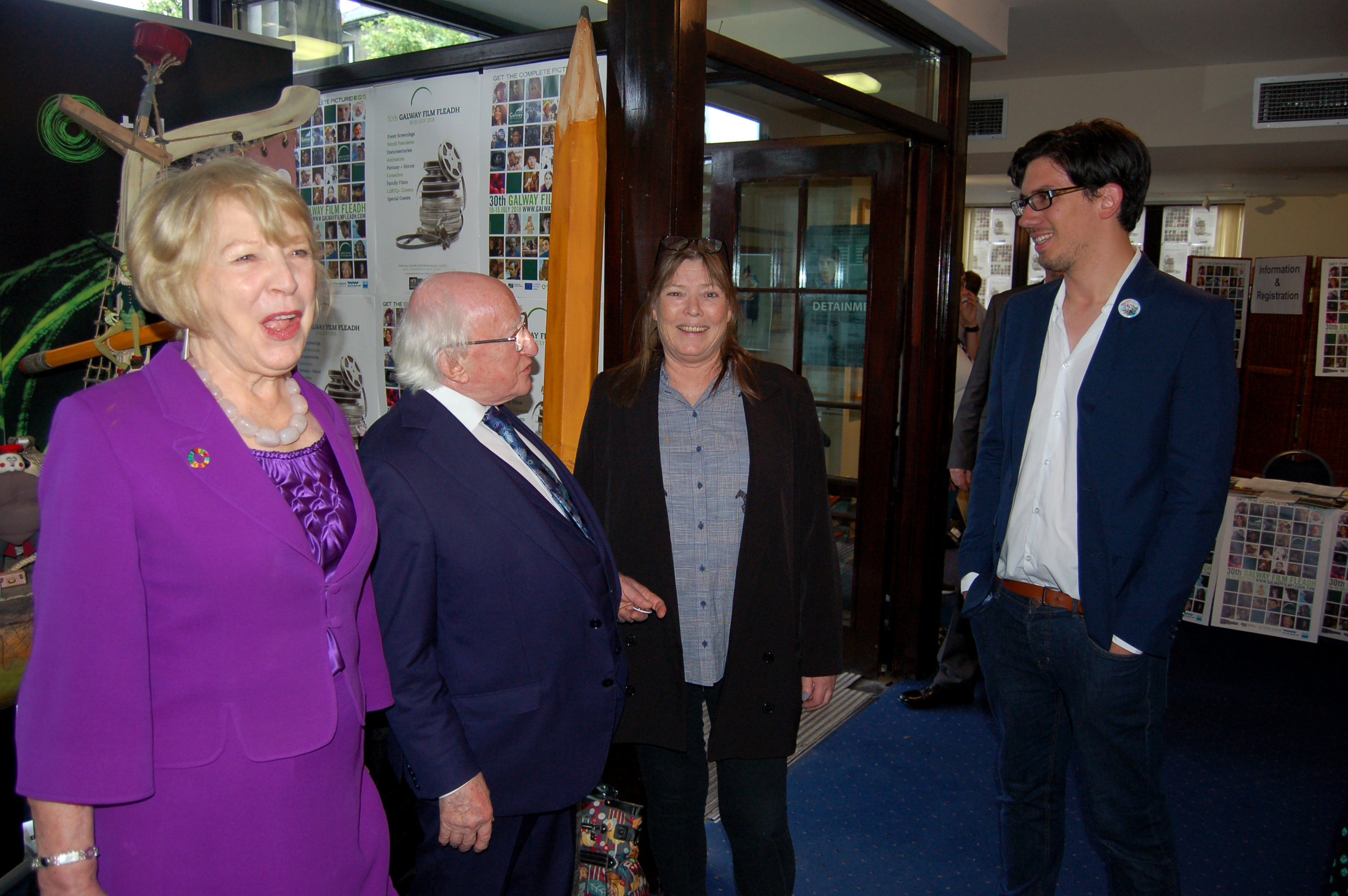 Mrs. Sabina Higgins, President Higgins and Galway Film Fleadh CEO Miriam Allen discussing 'Captain Morten and the Spider Queen' with Telegael Head of Design Morgan O'Brien. Photo Billy Keady
