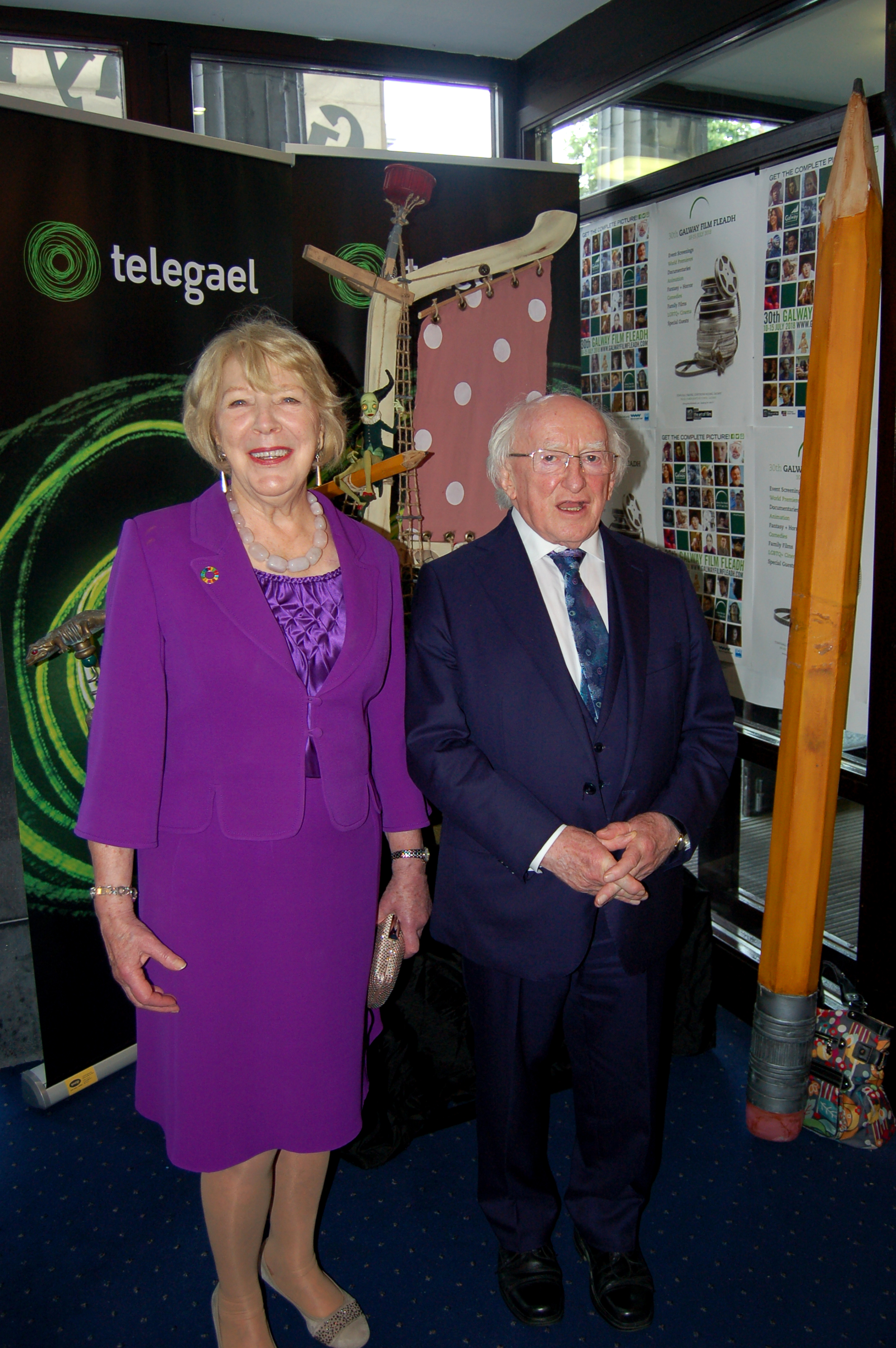 Mrs. Sabina Higgins and President Higgins Pictured in front of the 'Captain Morten and the Spider Queen' display in the Town Hall Theatre Galway as part of the 2018 Galway Film Fleadh. Photo Billy Keady