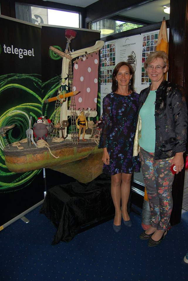 Ambassador of Estonia Mrs. Kristi Karelsohn pictured with Estonian Producer Kerdi Oengo pictured in front of the 'Captain Morten and the Spider Queen' display. Photo Billy Keady
