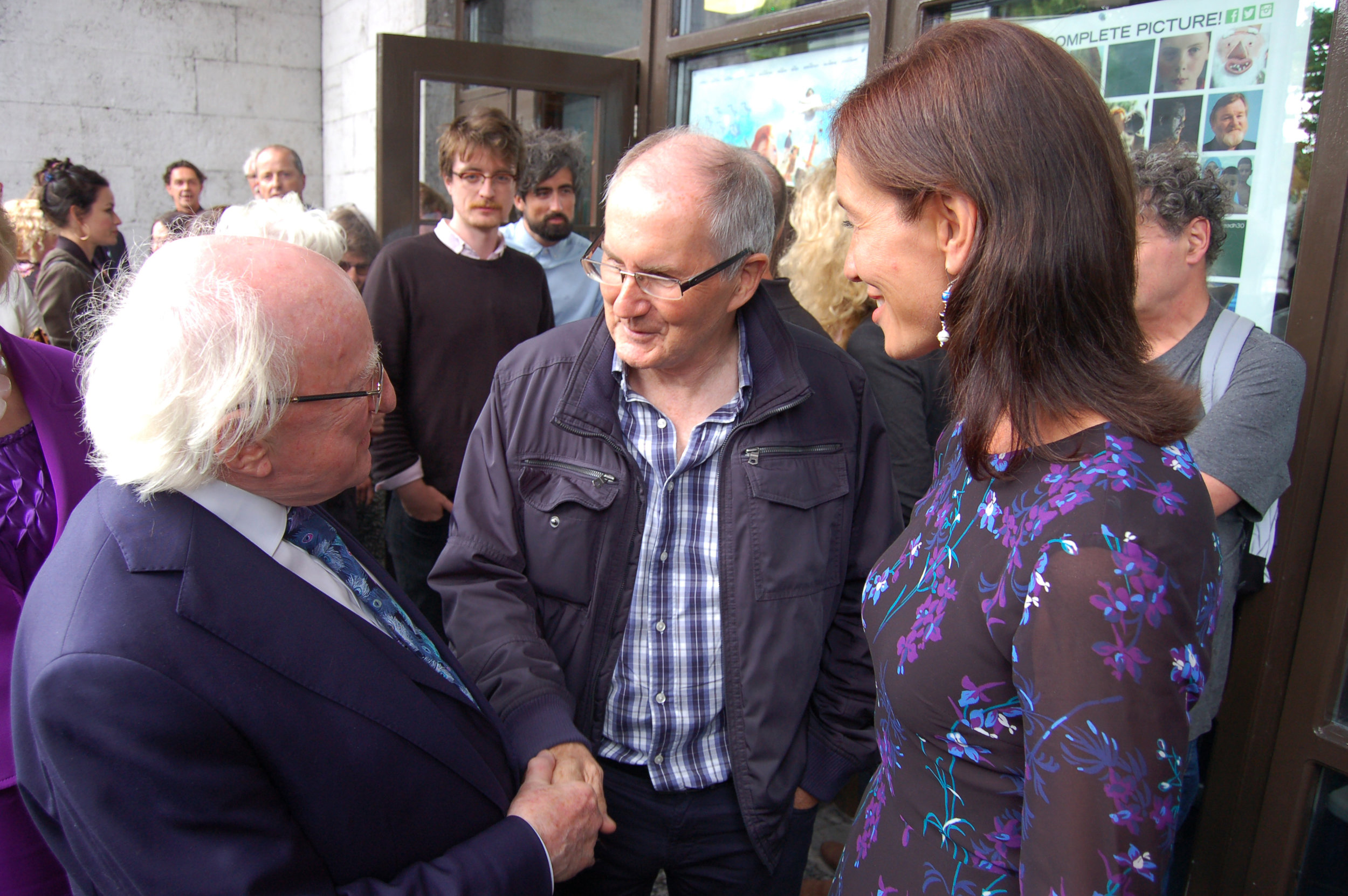 President Higgins, Telegael CEO Mr. Paul Cummins and Ambassador of Estonia Mrs. Kristi Karelsohn after the Irish Premier of 'Captain Morten and the Spider Queen' in the Town Hall Theatre Galway. Photo Billy Keady