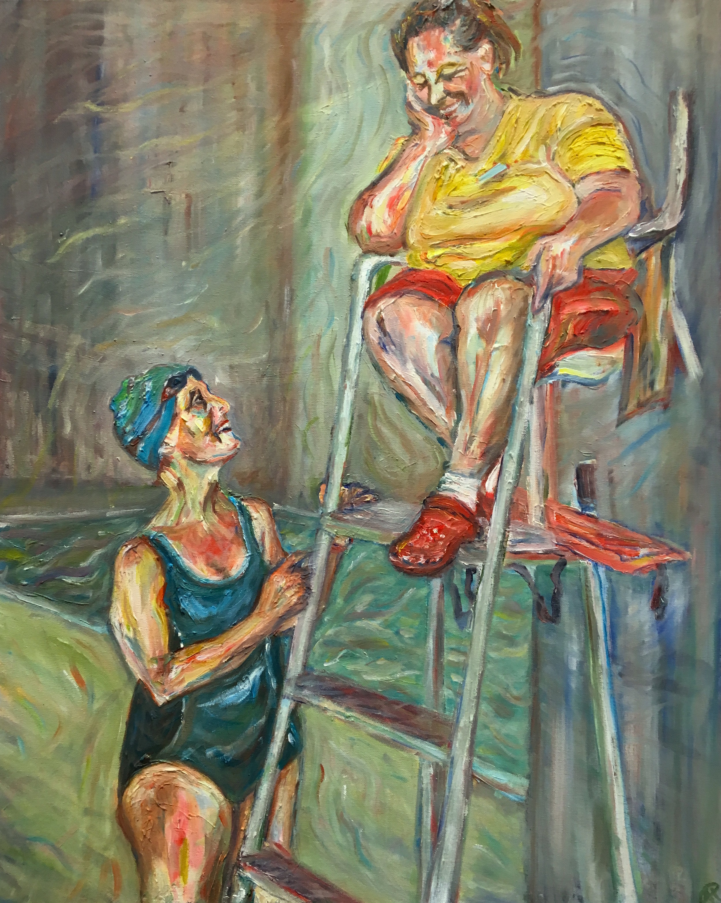 'Pool Chat' Oil on canvas
