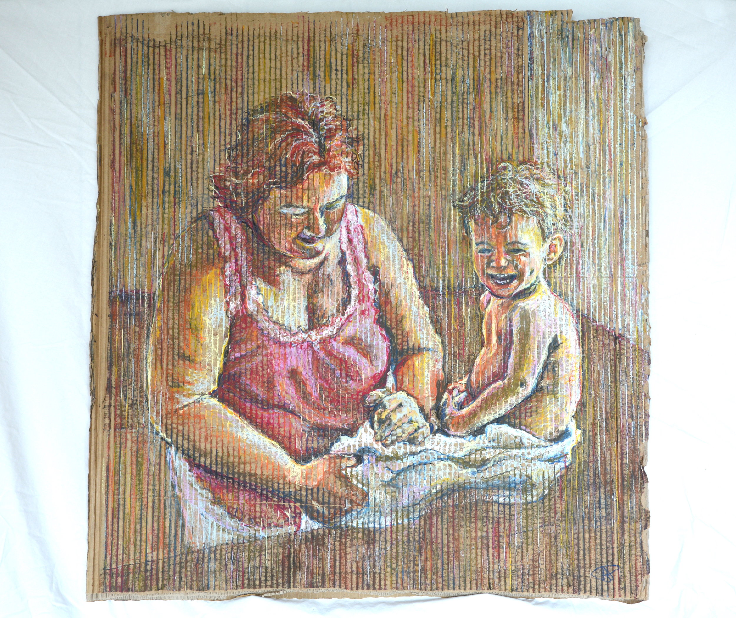'Kitchen Sink Bath' Oil pastel on corrugated cardboard