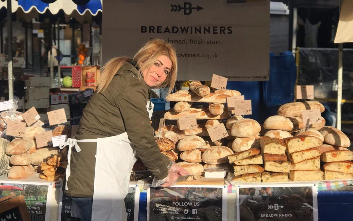 Ghazal working at the Breadwinners stall.