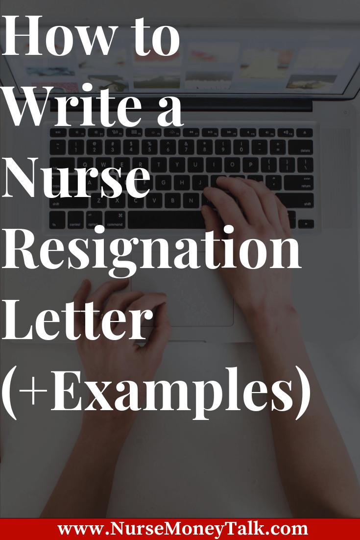 Example of a nurse resignation letter aka nurse exit letter.