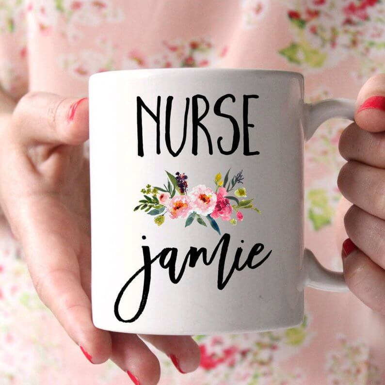 A mug for a nurse Christmas gift.