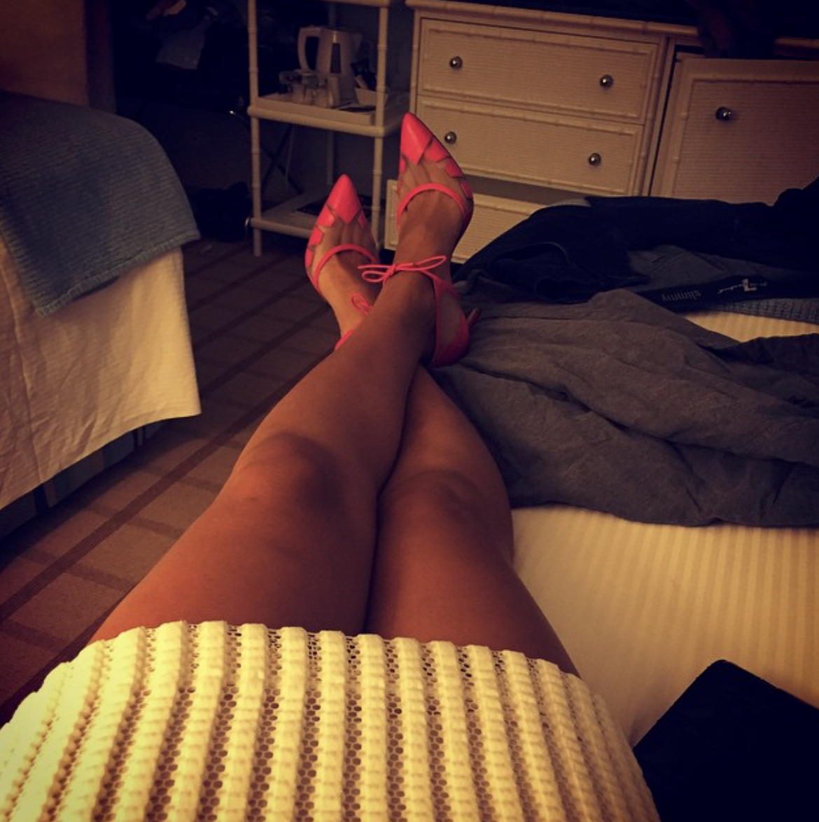 @ jadecnicholas   Feet up before the night begins... My current favourite shoe, Thursday was black, Friday grey and tonight pink  #lana   #Biondacastana   #girlinbc   #MonacoGP