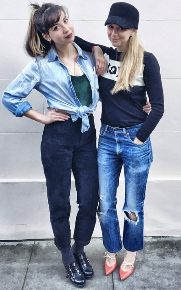 @ amyrobertonstudio   With my denim challenge buddy the lovely  @katesayshi wearing vintage Levi's with blown out knees and  @bella_freud  jumper and  @biondacastana  shoes.