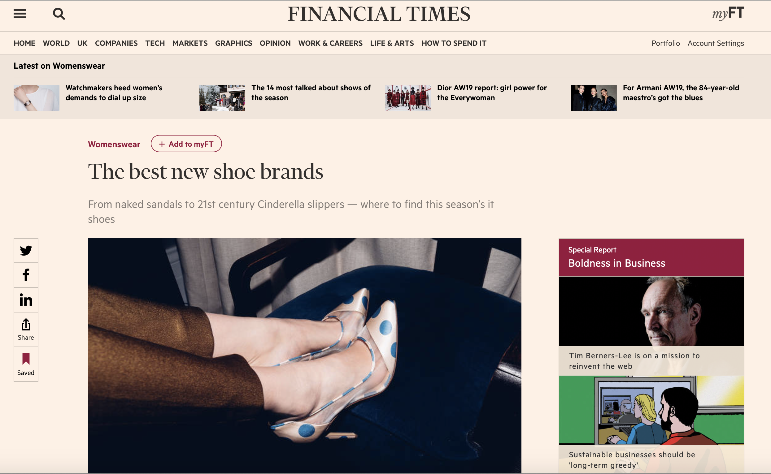 THE BEST NEW SHOE BRANDS - FEATURED IN THE FINANCIAL TIMES