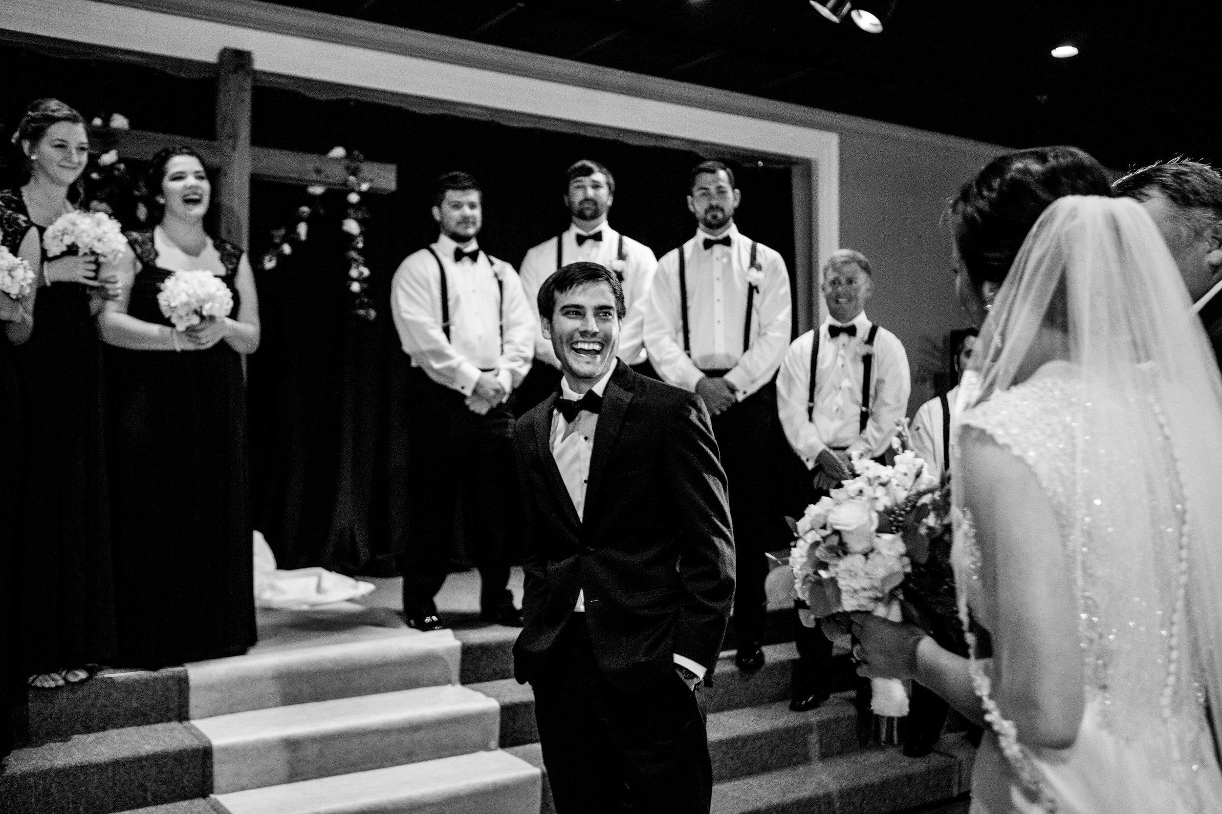 Frist look, groom sees his bride