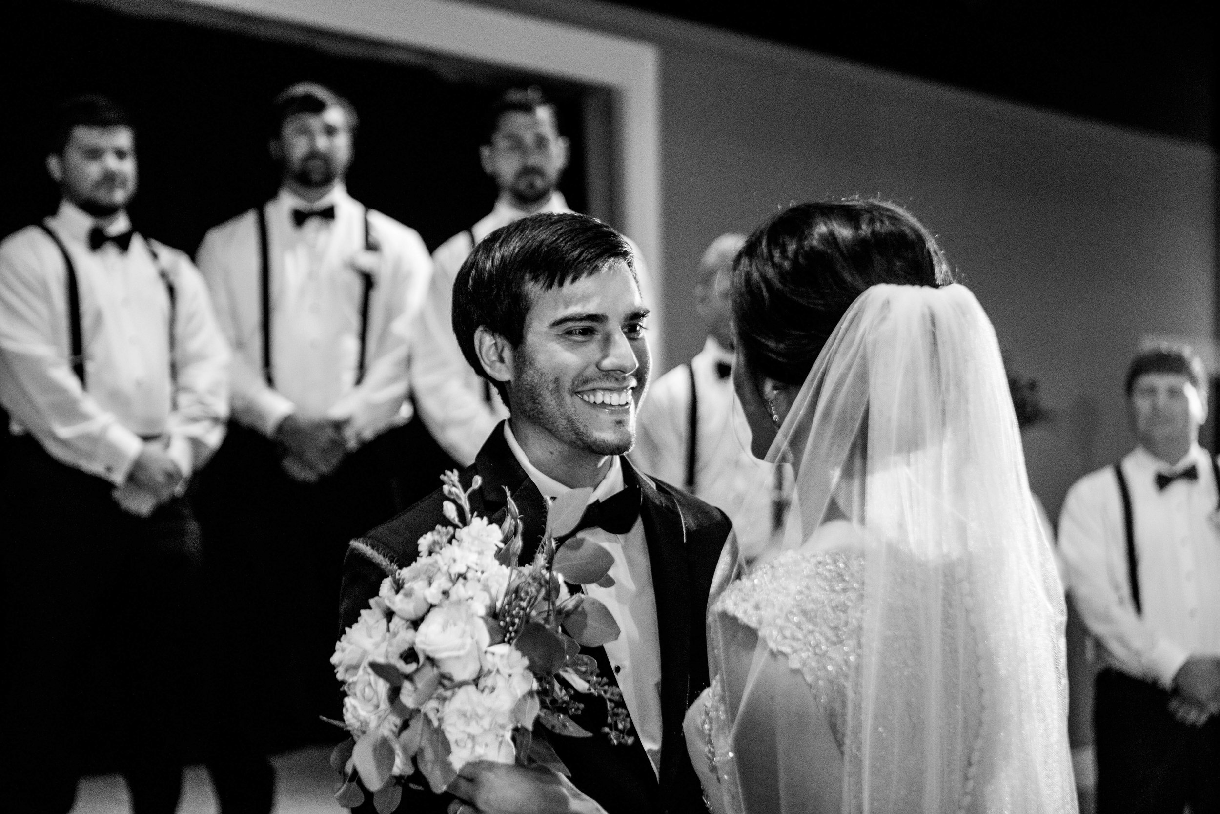 Groom see his bride for the first time
