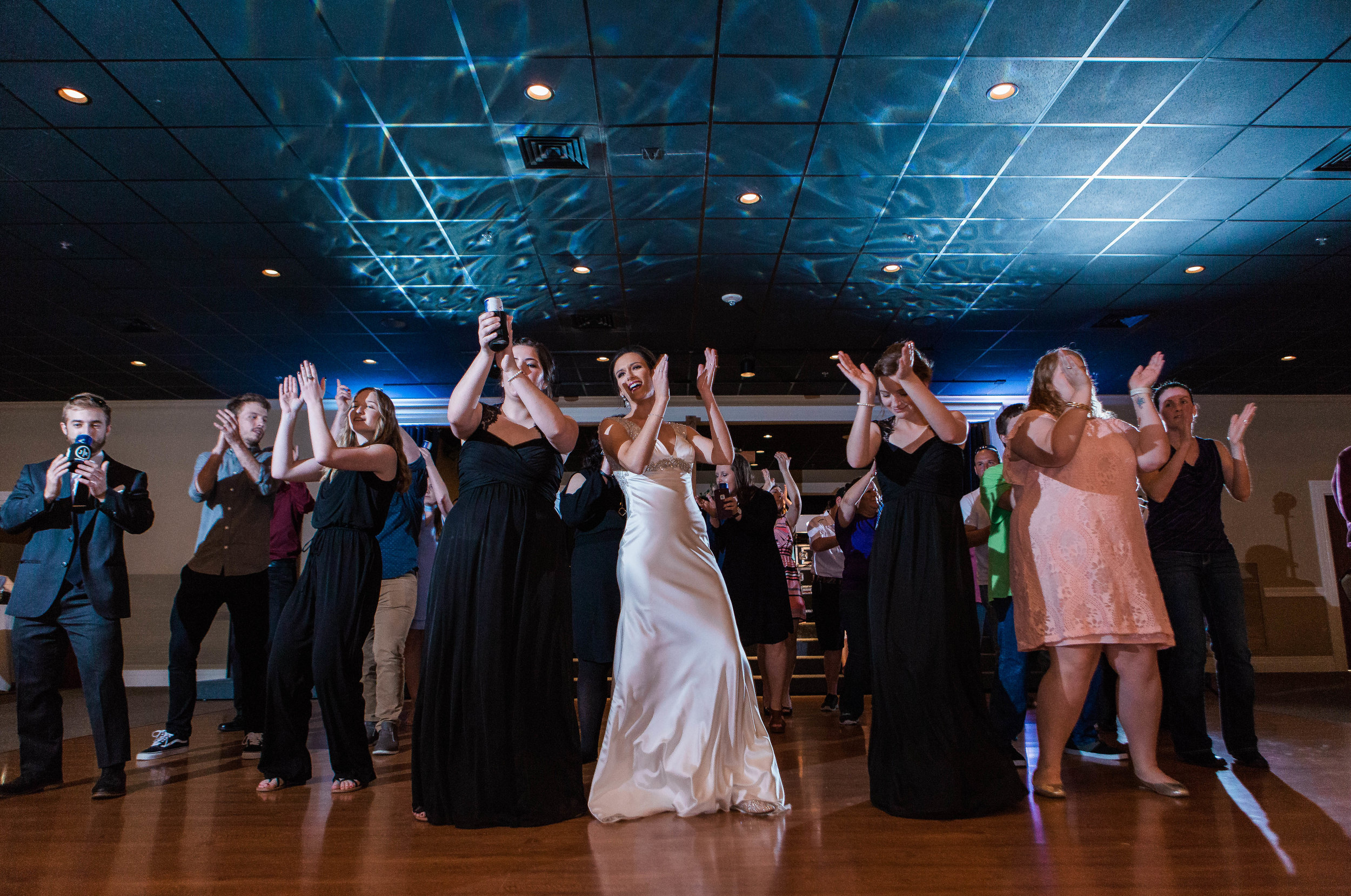 Reception at Let's party! Wedding guest and couple are enjoying their reception atThe Grand Marais Ballroom and Pavillion - Jennings Louisiana