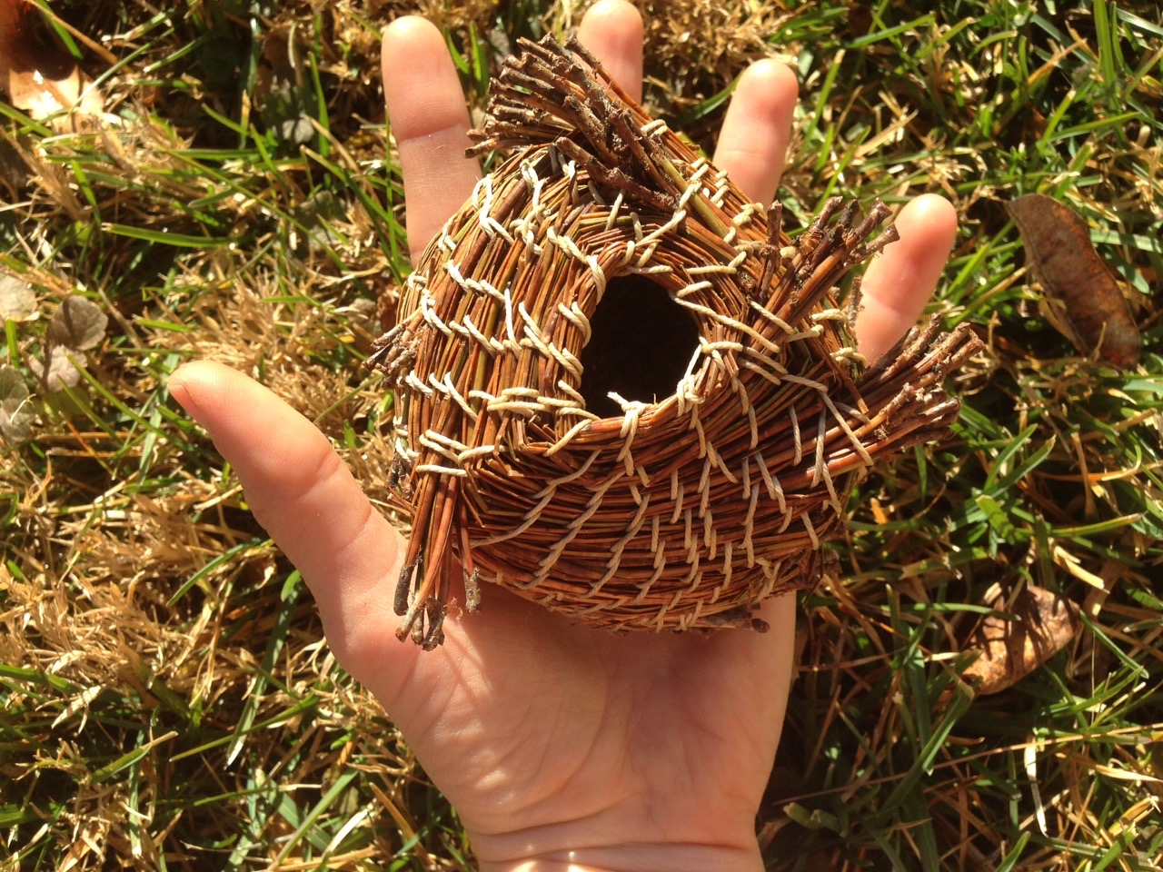 Pine needle basketry created in handicrafts class