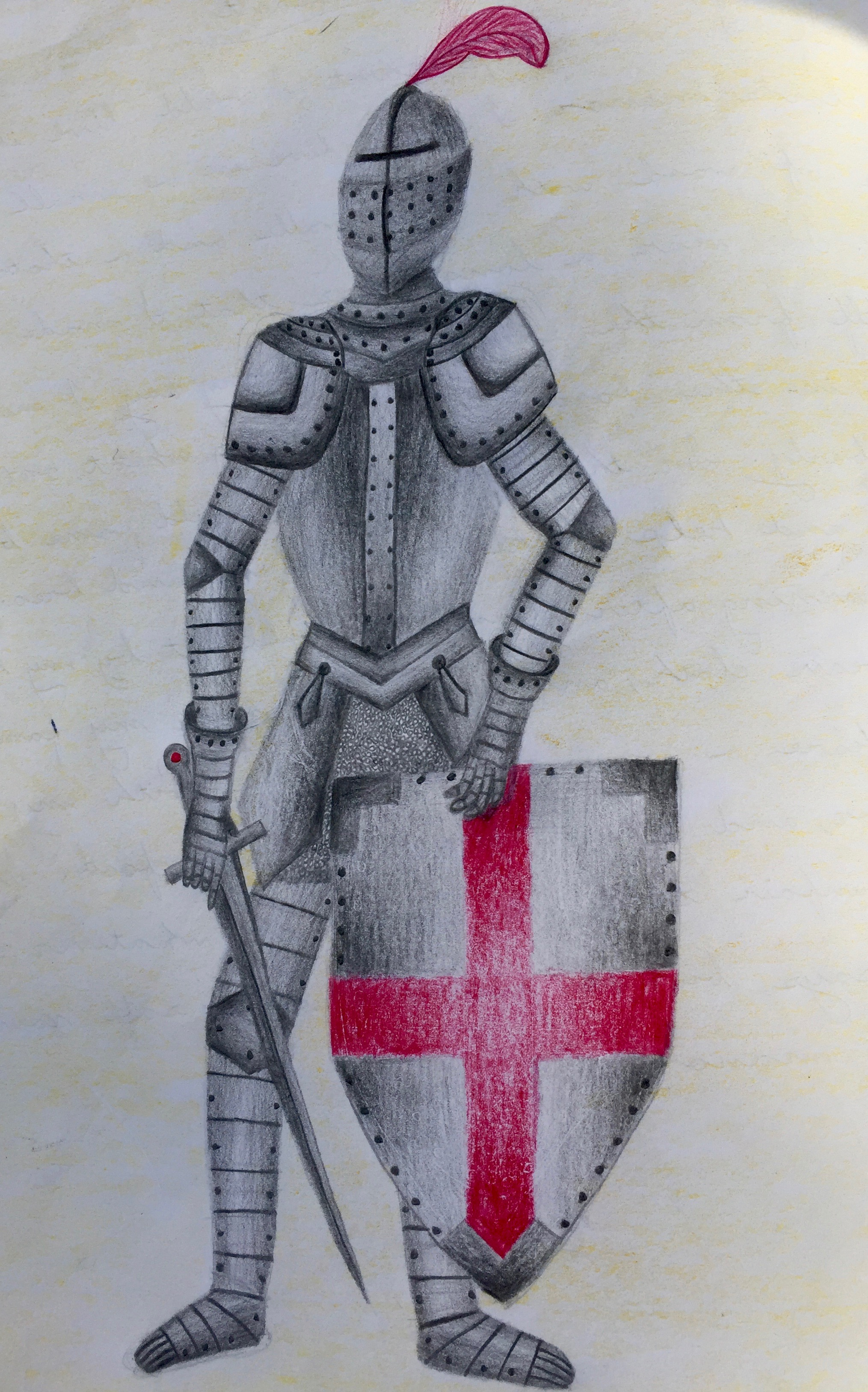 Proportional drawing of a knight from a block on Medieval History